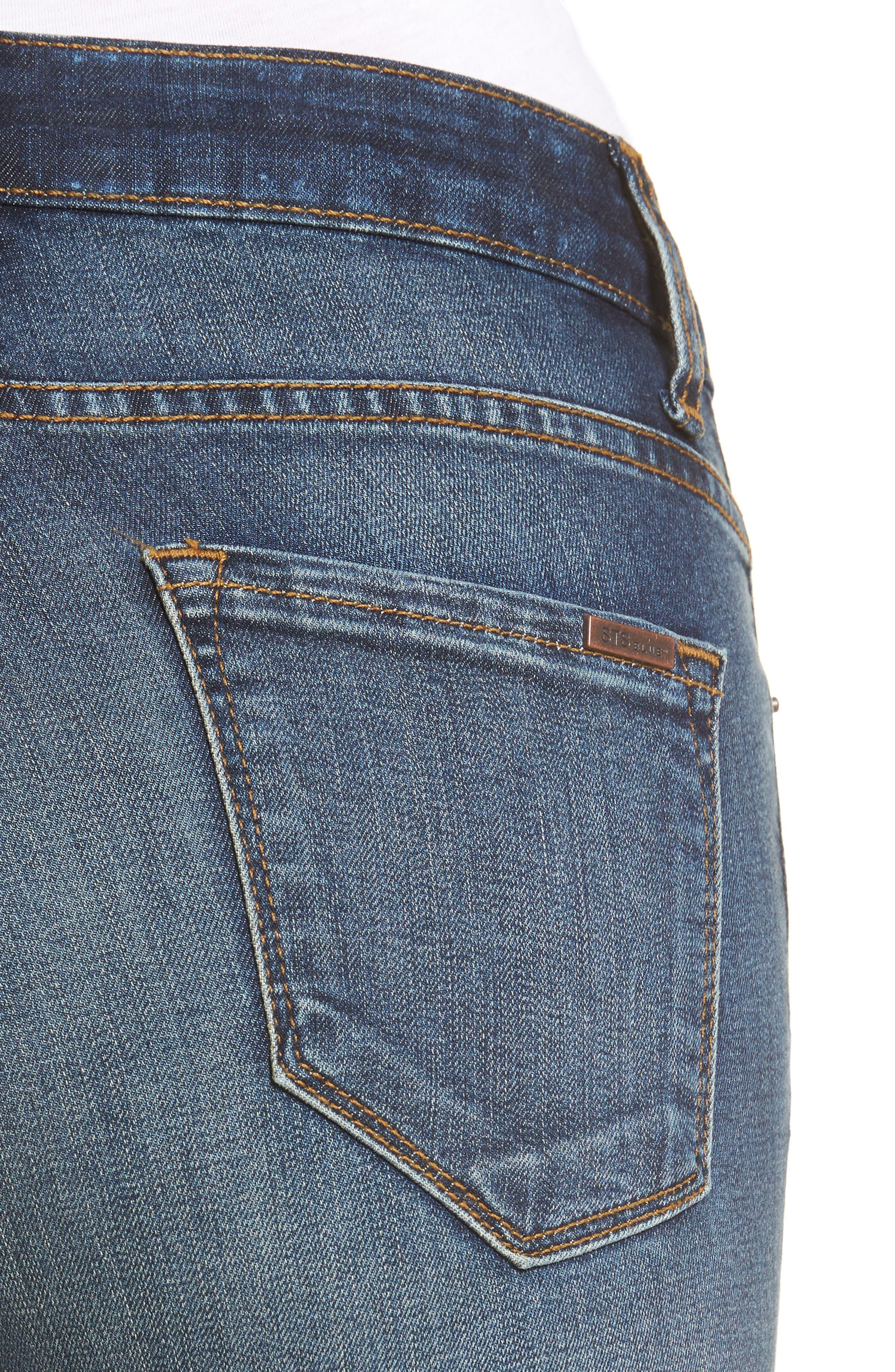 Elli Distressed Step Hem Skinny Jeans,                             Alternate thumbnail 4, color,                             Yukon