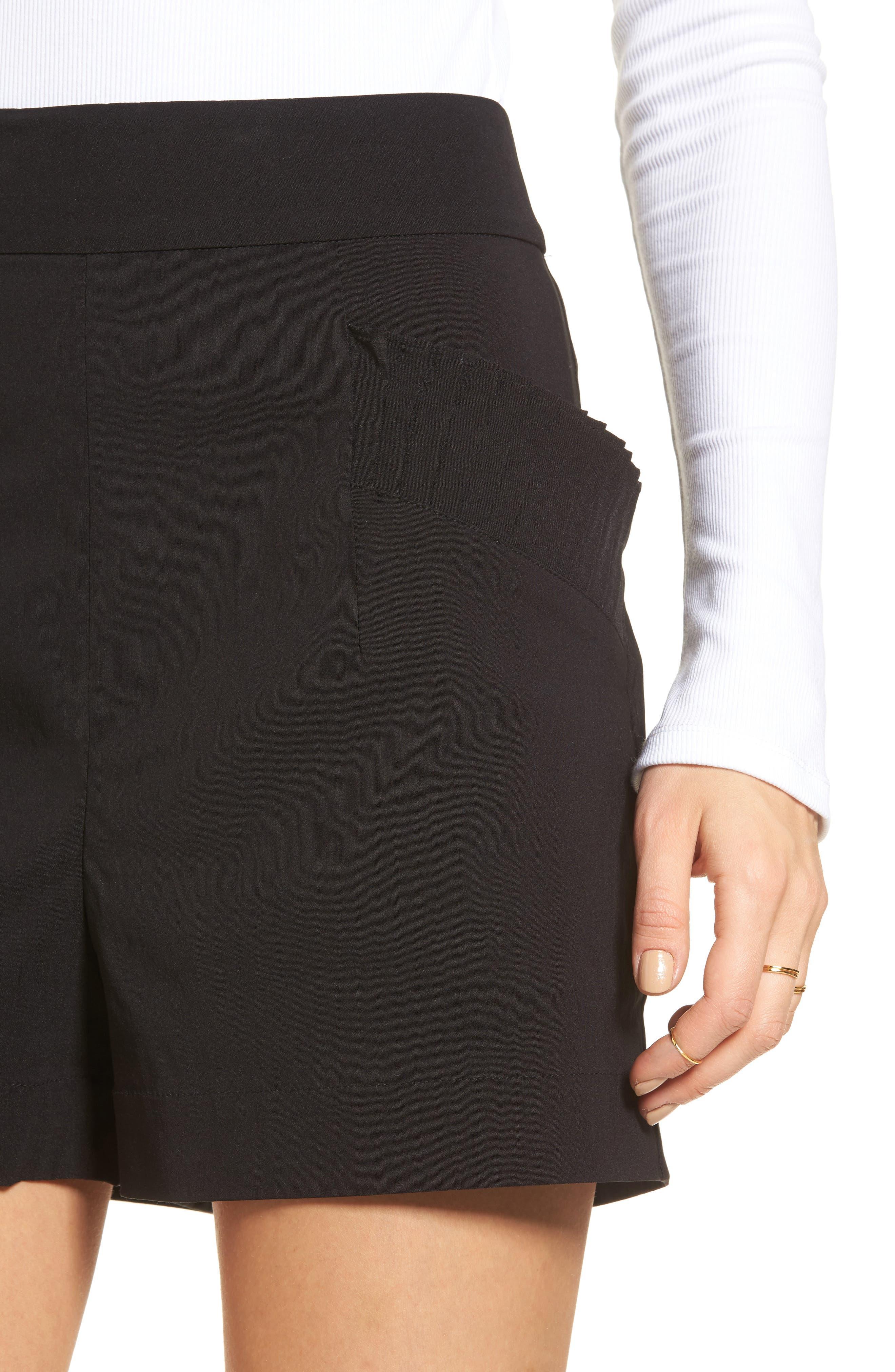 Pleat Trim High Waist Shorts,                             Alternate thumbnail 4, color,                             Black