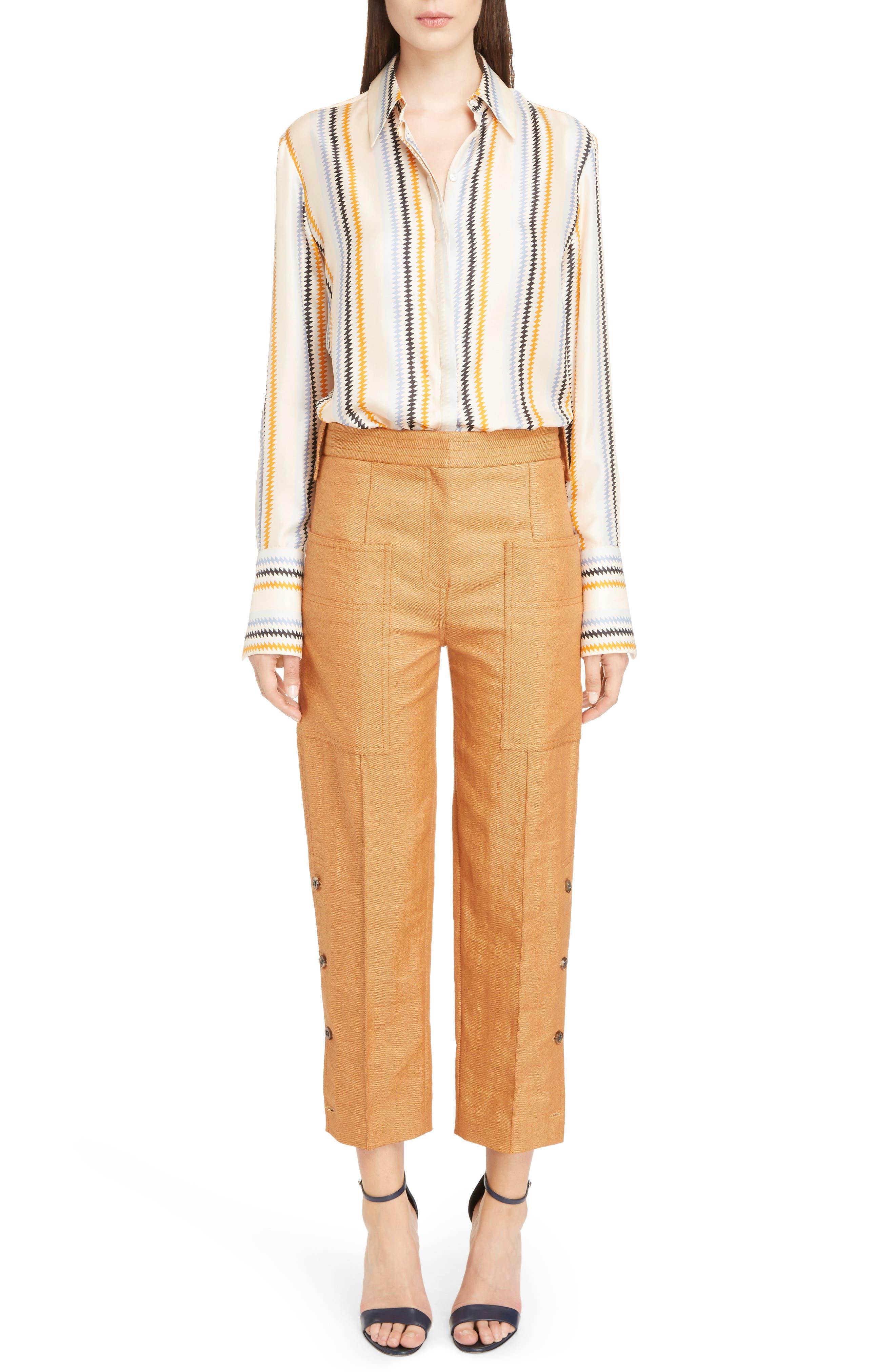 Fluid Stripe Silk Shirt,                             Alternate thumbnail 6, color,                             Zig Zag Stripe