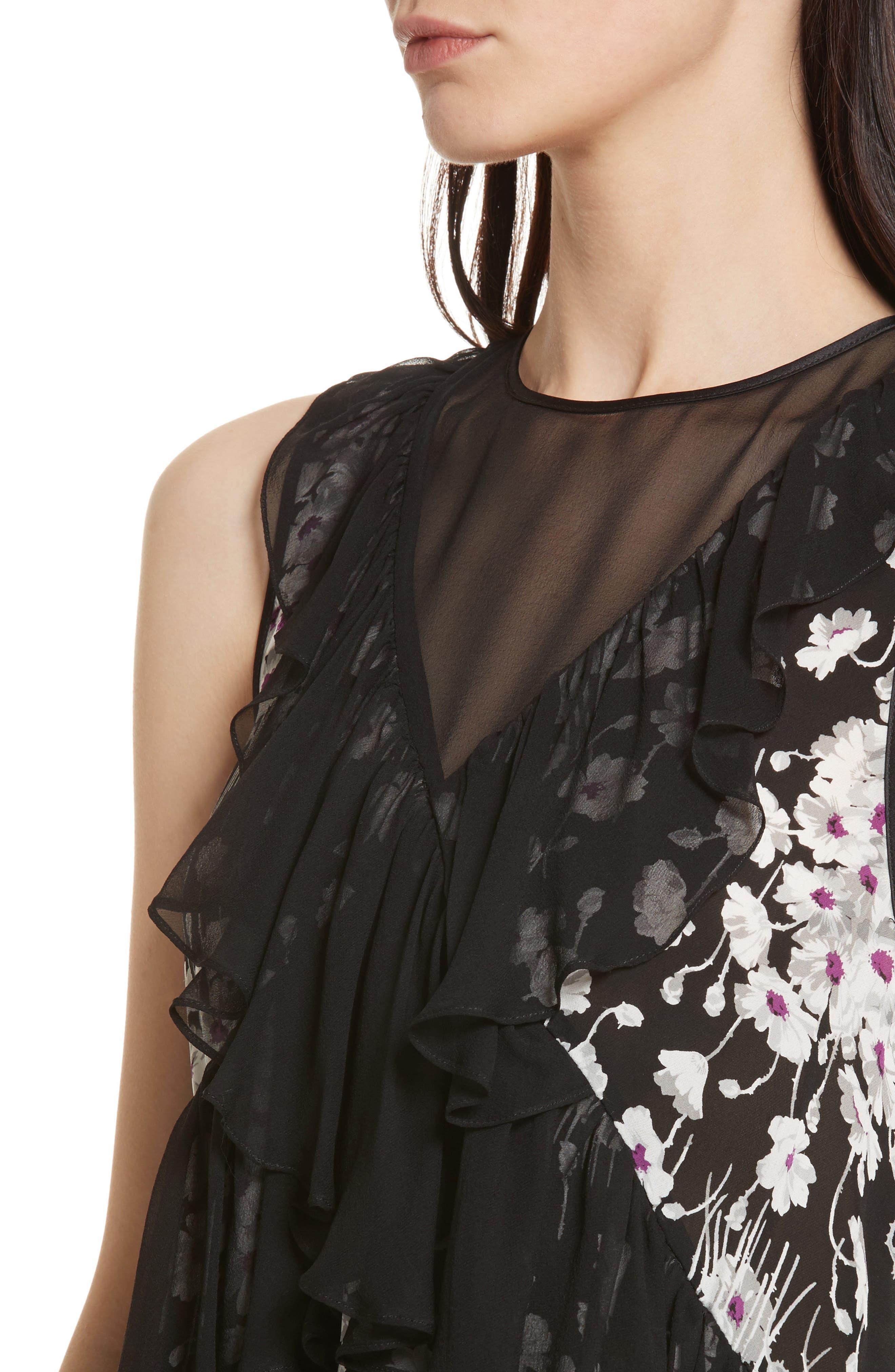 Alternate Image 4  - Cinq à Sept Simone Ruffled Sleeveless Silk Top