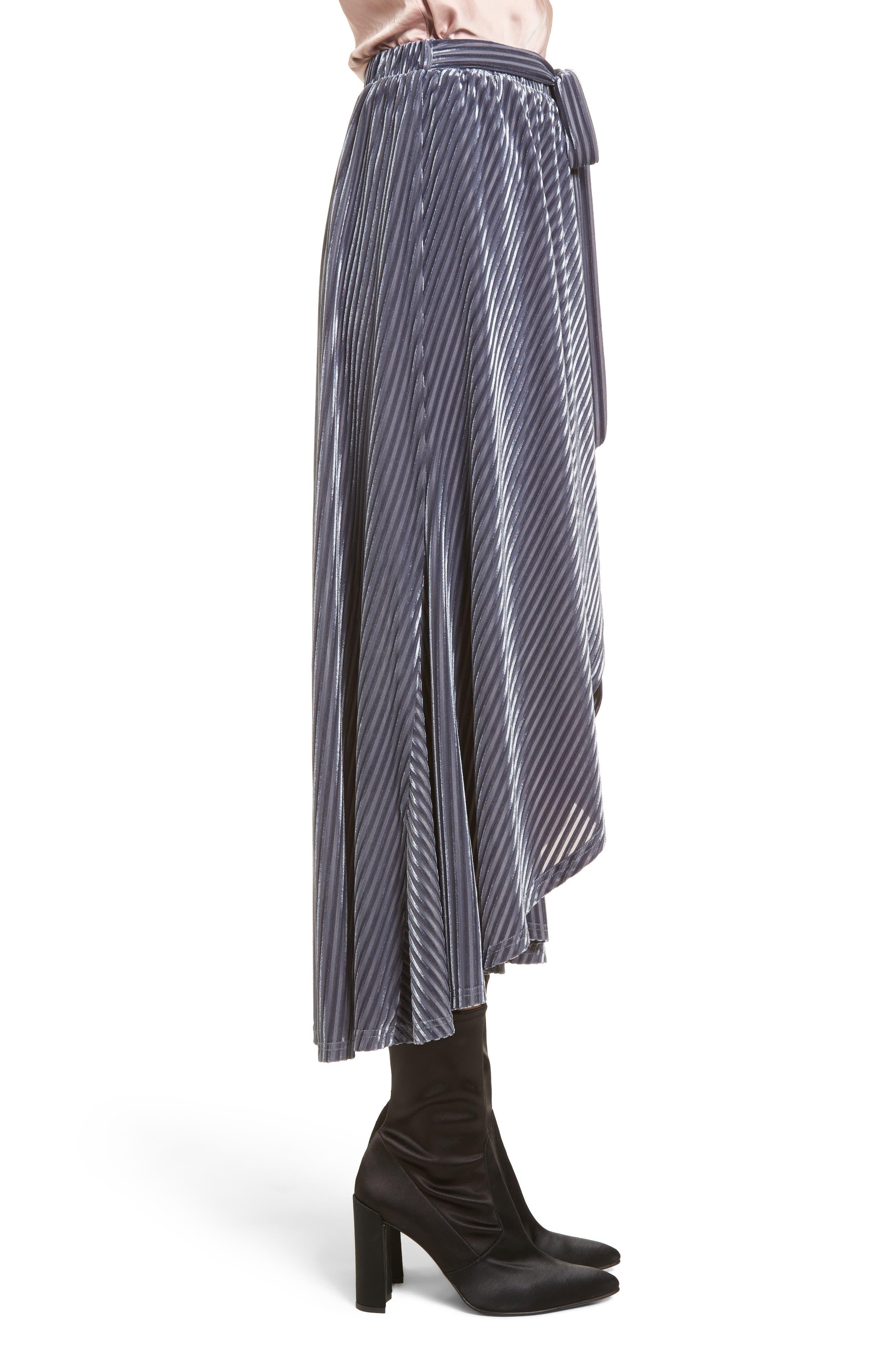 Velvet Wrap Skirt,                             Alternate thumbnail 3, color,                             Slate