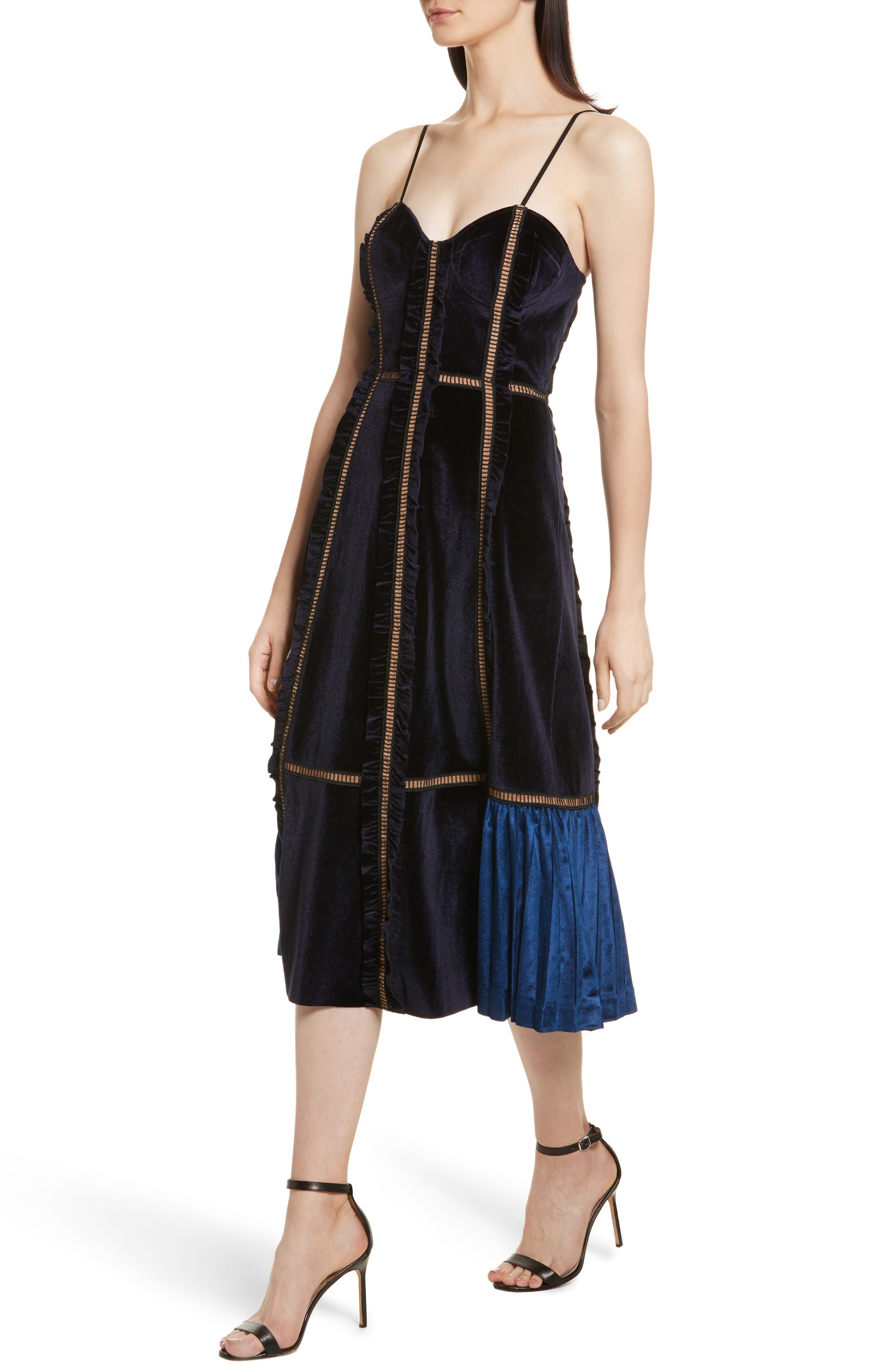 Paneled Velvet Midi Dress,                             Alternate thumbnail 3, color,                             Midnight Blue