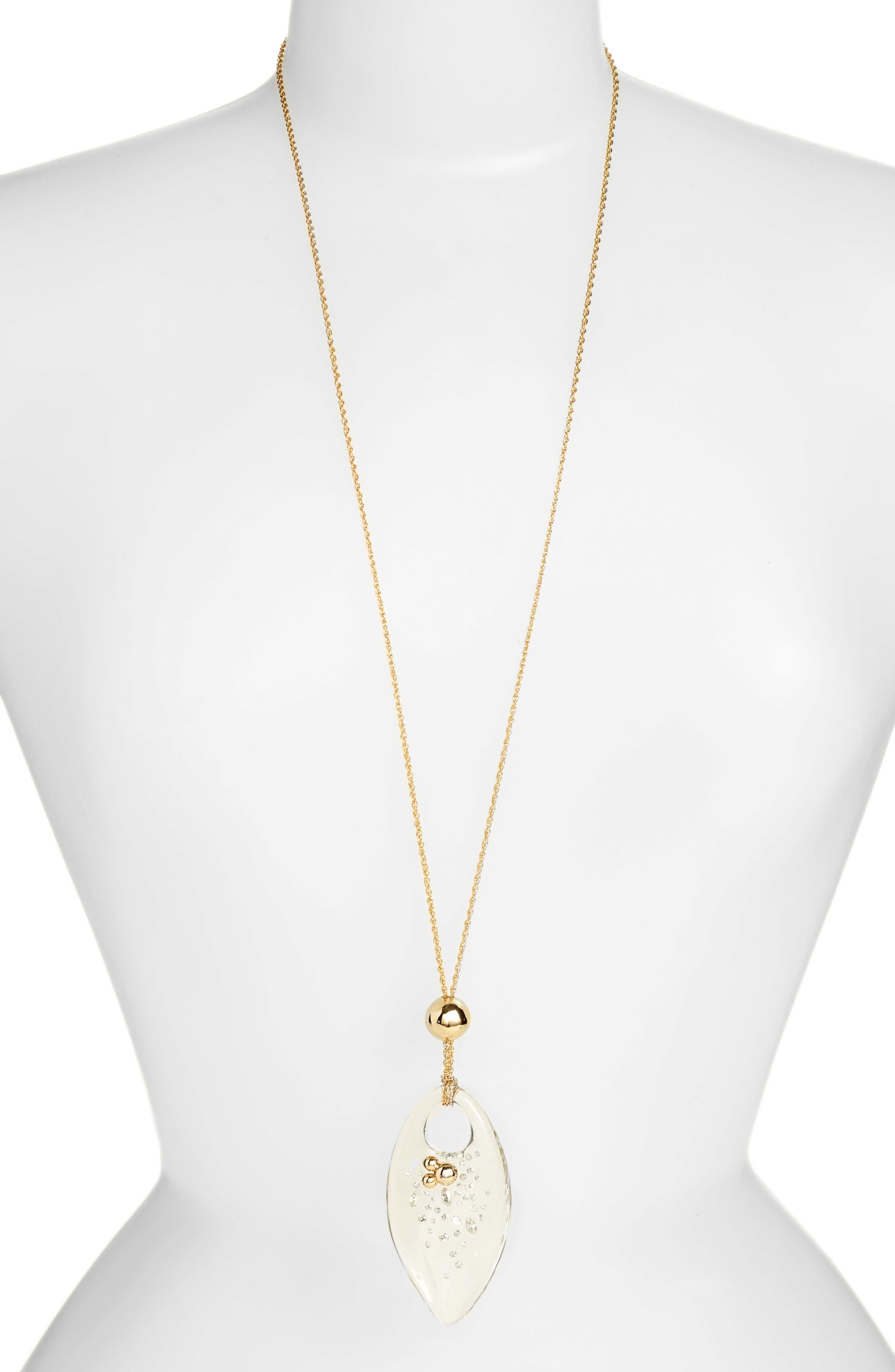 Lucite<sup>®</sup> Pendant Necklace,                             Main thumbnail 1, color,                             Clear