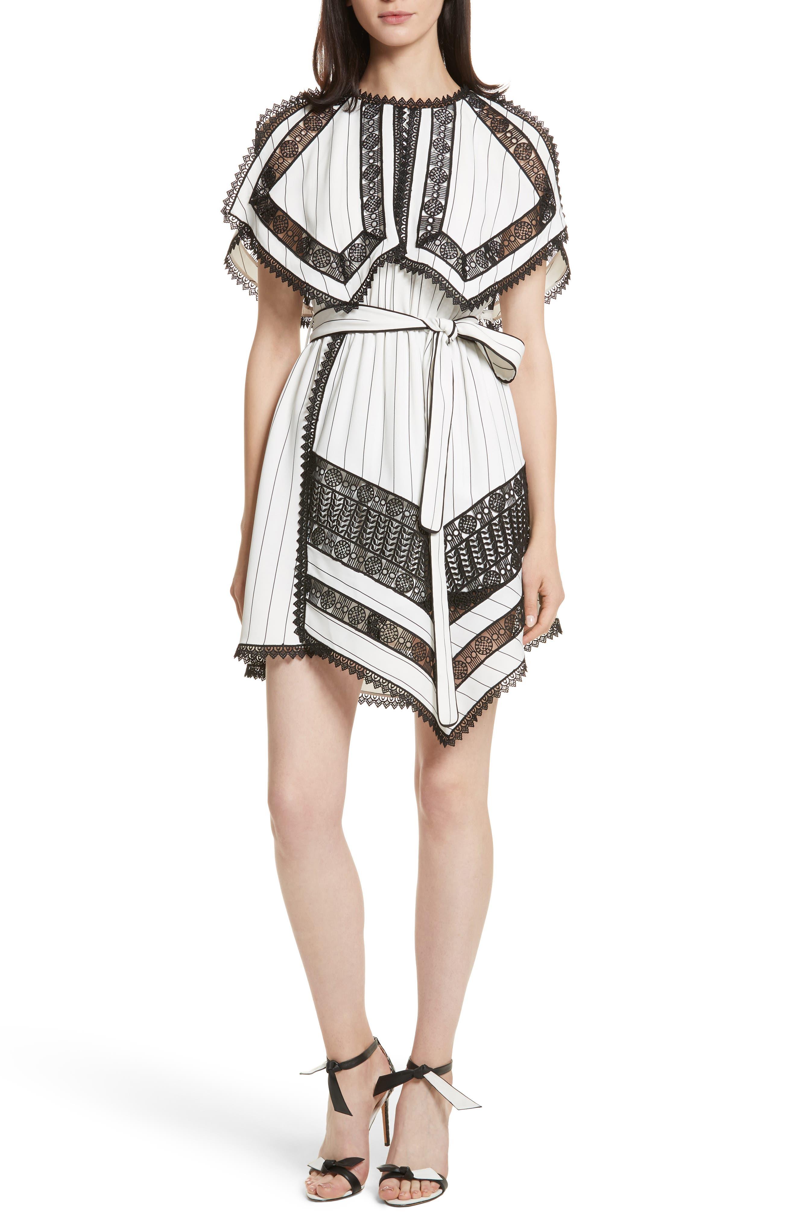Main Image - Self-Portrait Lace Trim Handkerchief Hem Dress