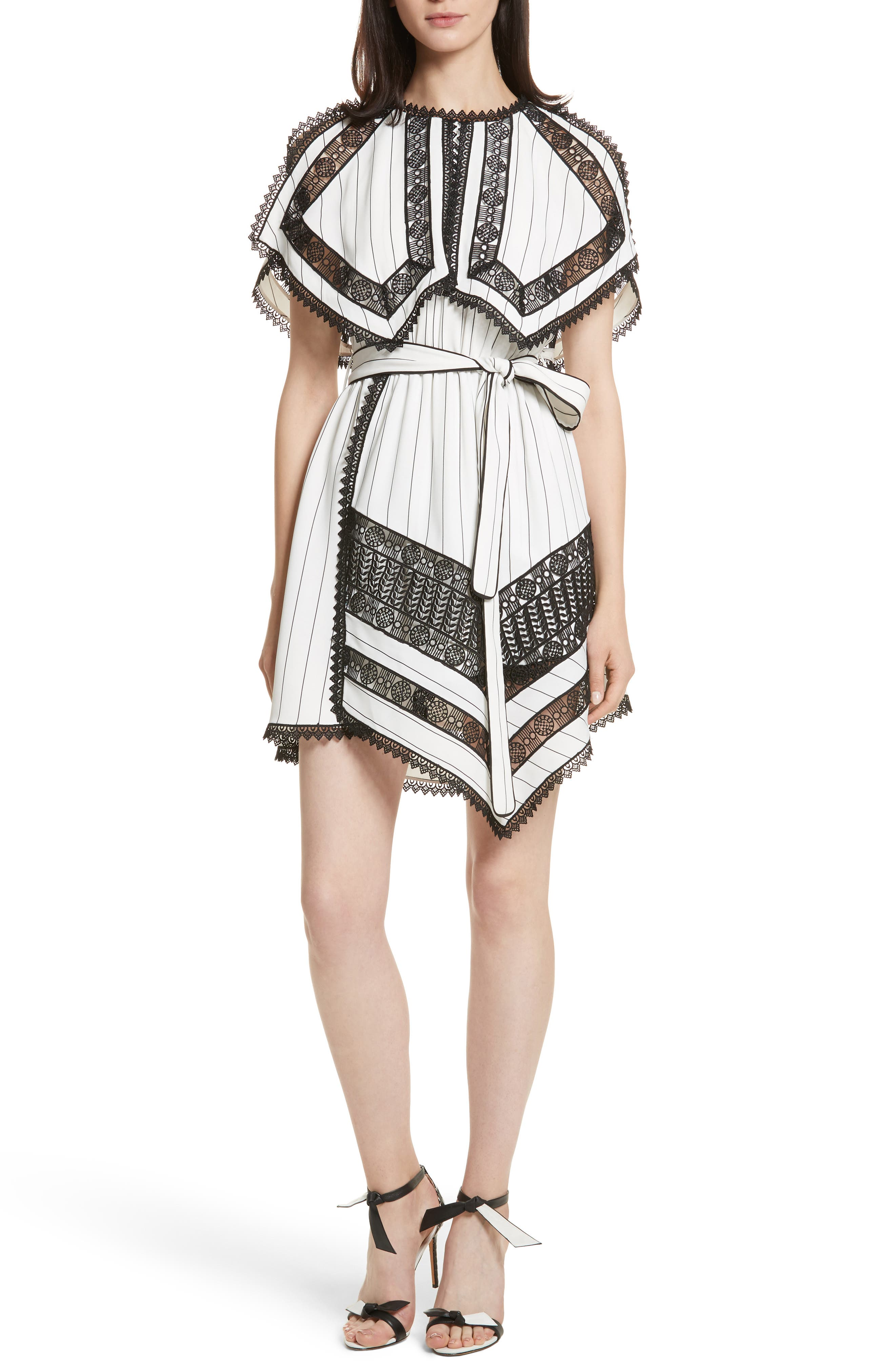 Self-Portrait Lace Trim Handkerchief Hem Dress