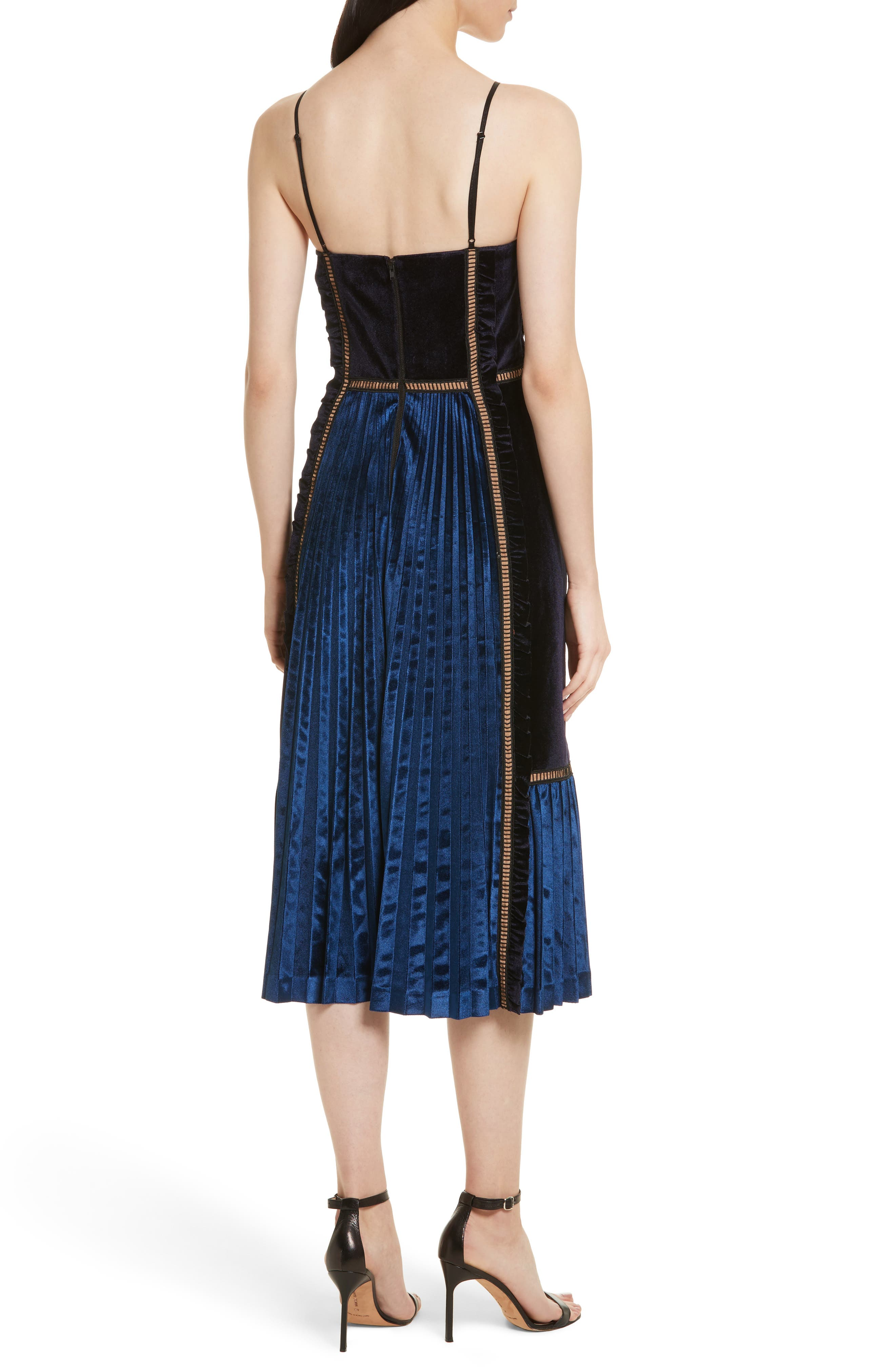 Paneled Velvet Midi Dress,                             Alternate thumbnail 2, color,                             Midnight Blue