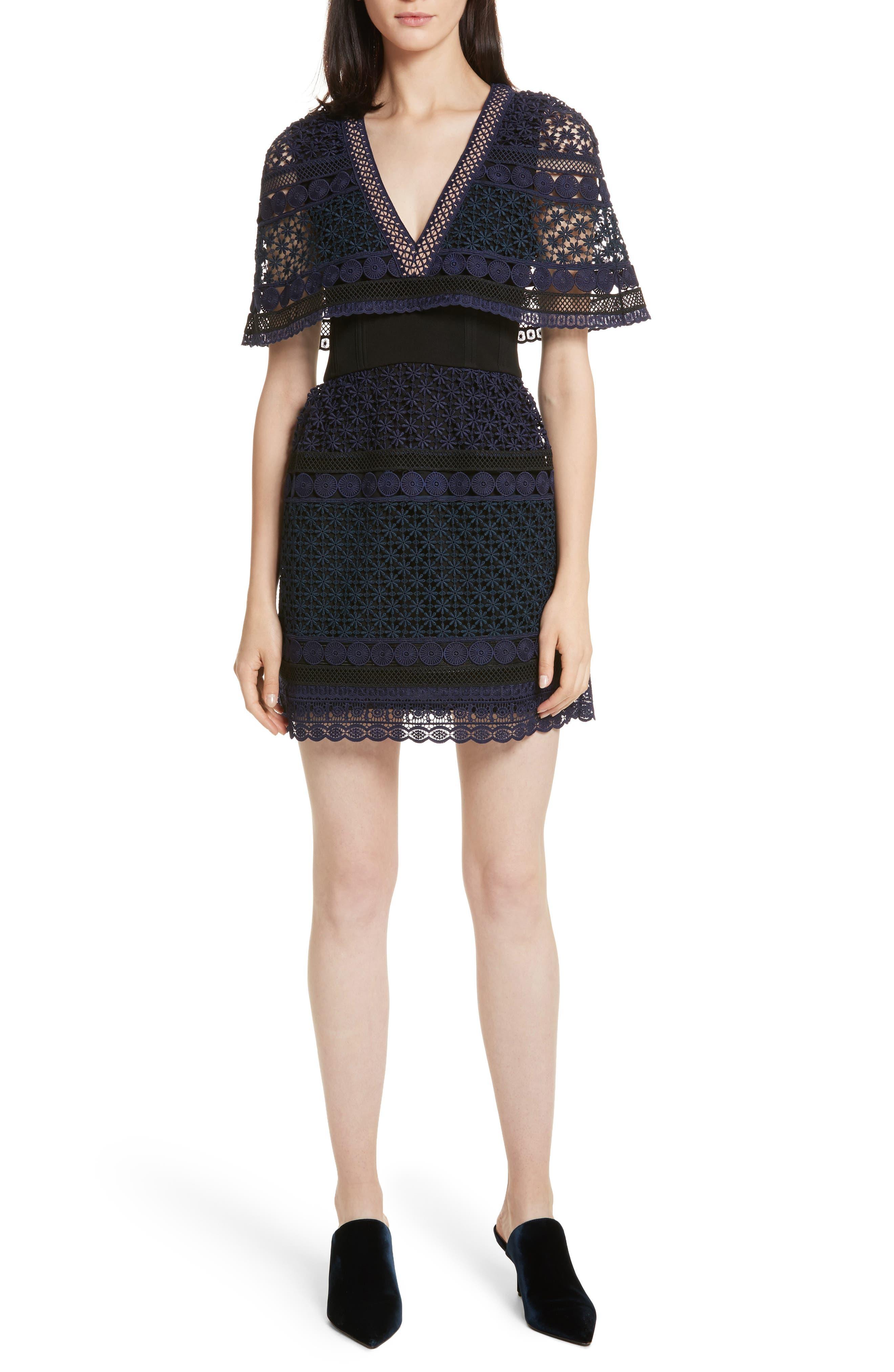 Guipure Lace Cape Dress,                         Main,                         color, Navy