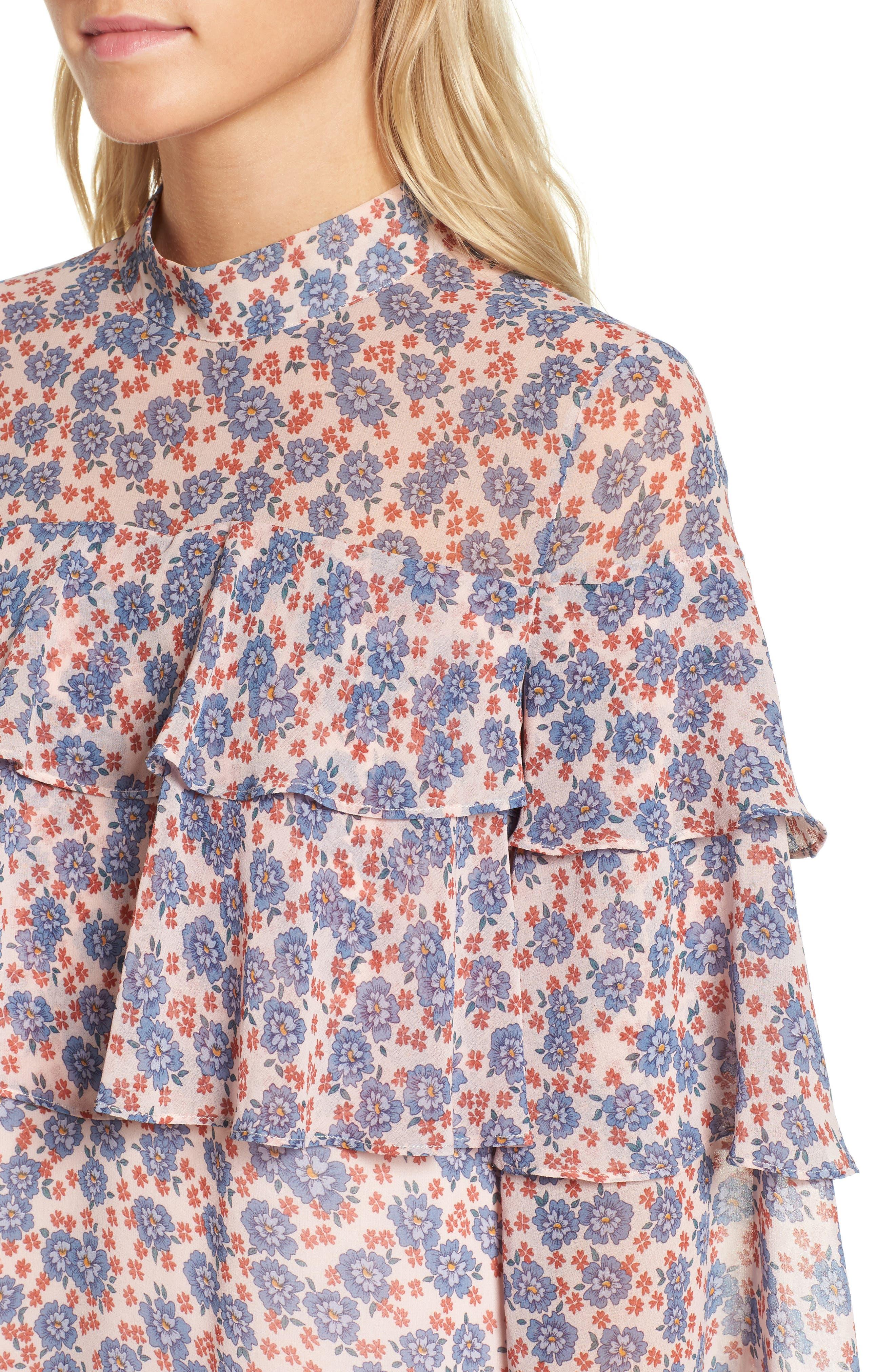 Darcy Ruffle Dress,                             Alternate thumbnail 4, color,                             Pink Multi
