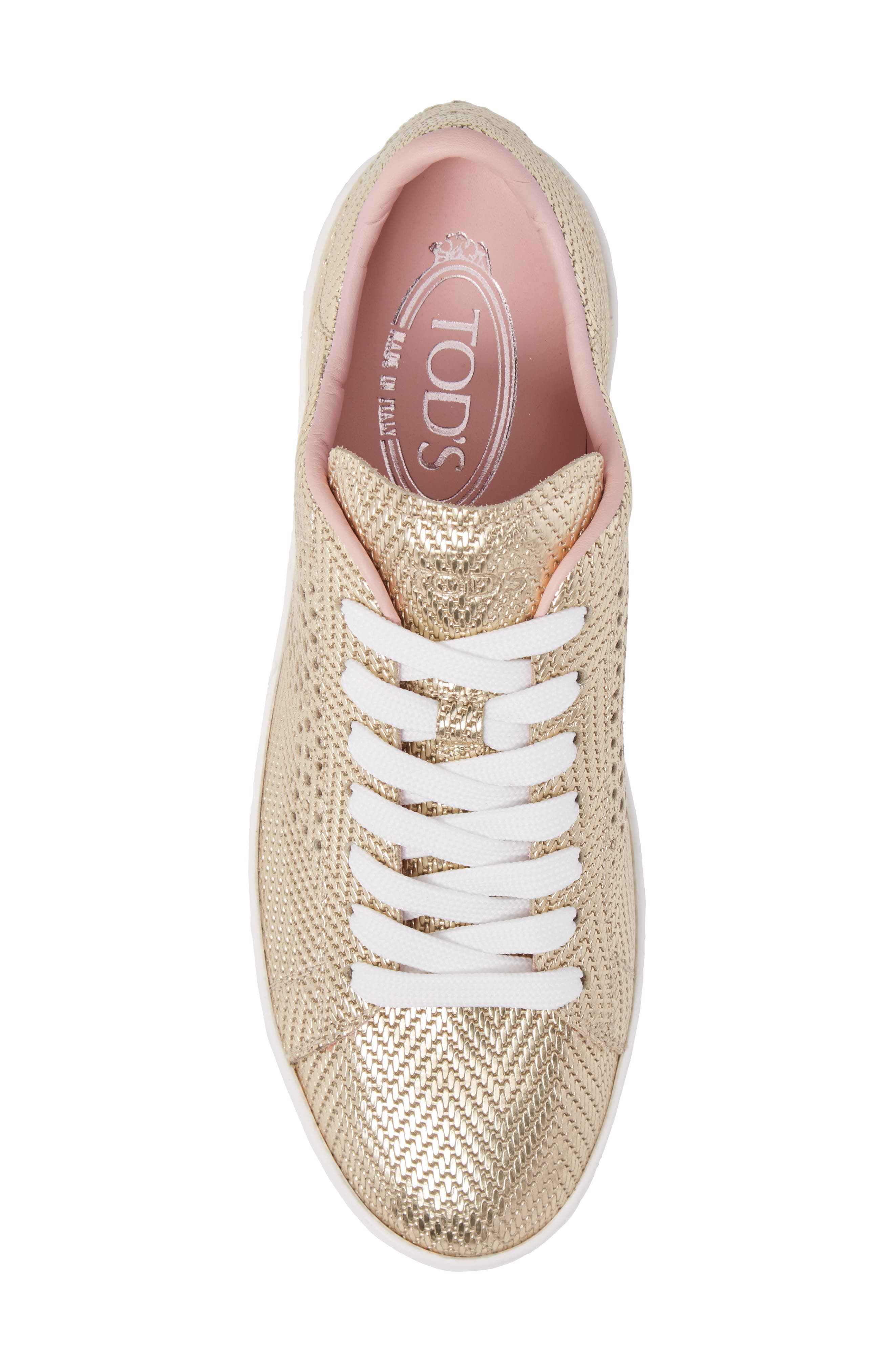 Perforated T Sneaker,                             Alternate thumbnail 5, color,                             Rose Gold