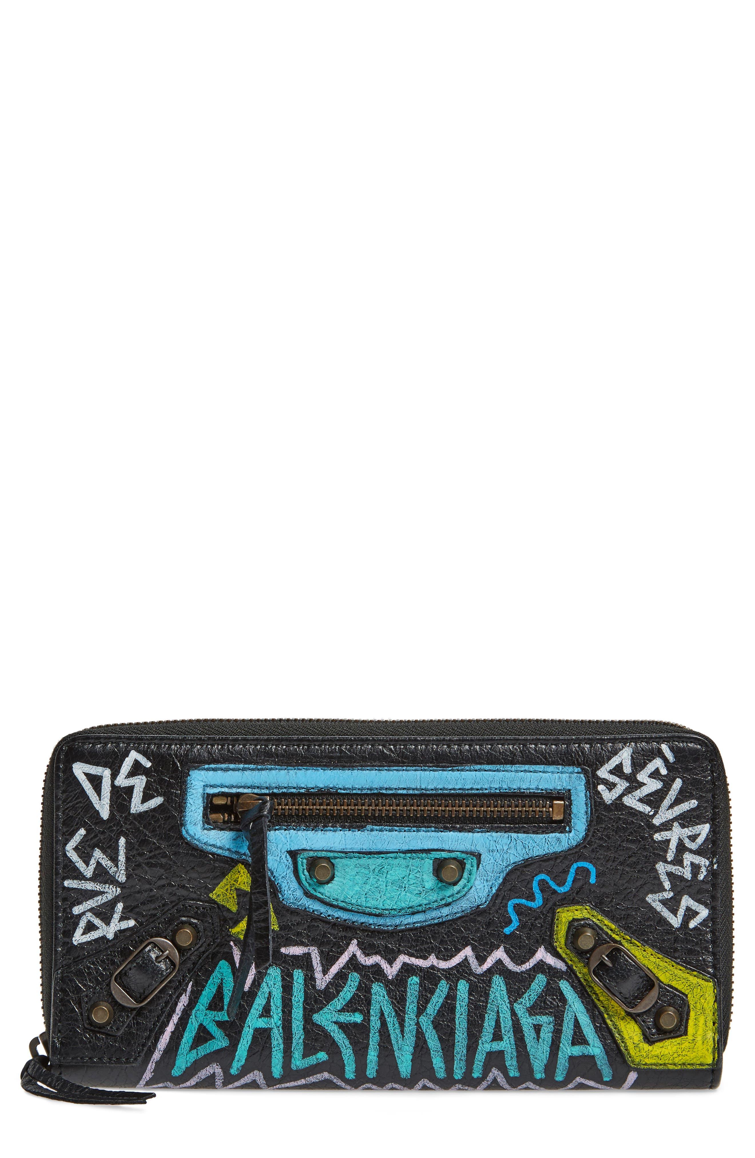 Classic Continental Leather Wallet,                             Main thumbnail 1, color,                             Noir/ Multi Color