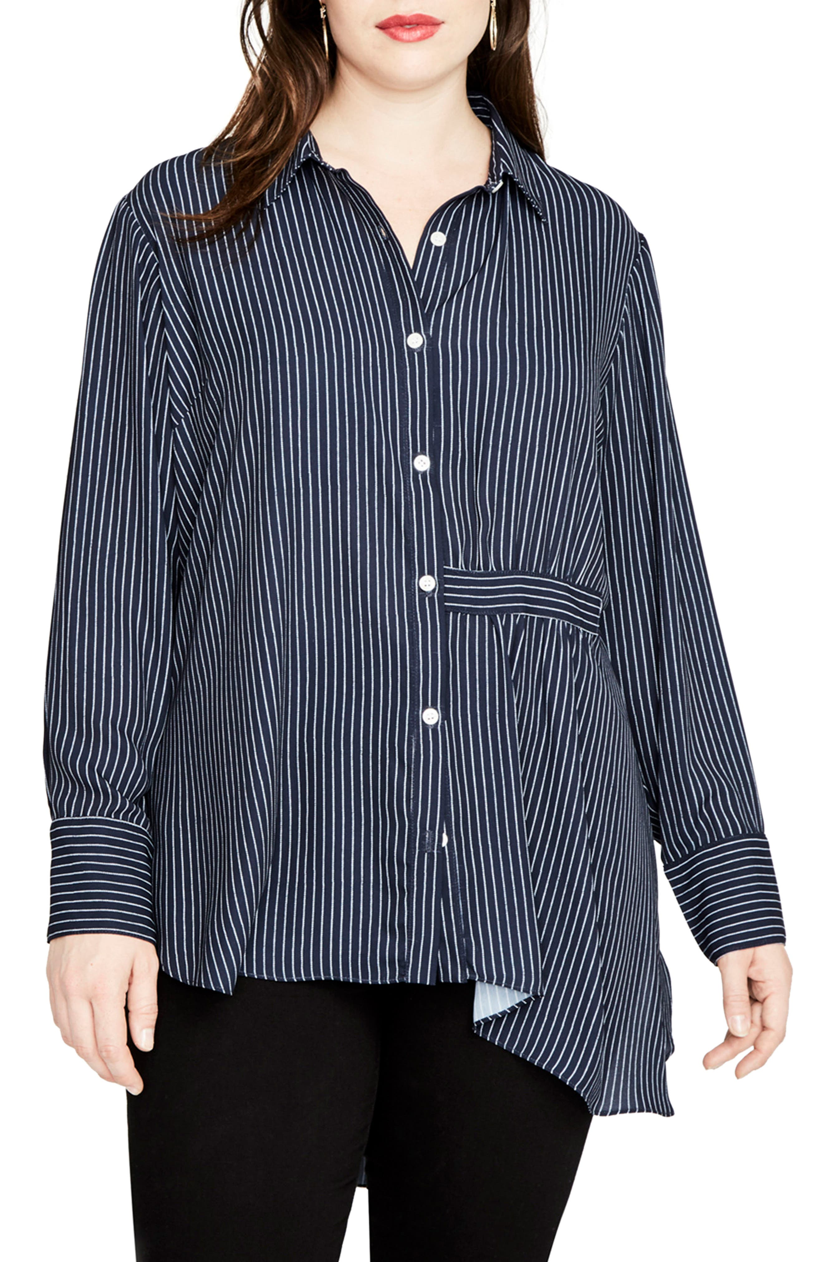 High/Low Pinstripe Shirt,                         Main,                         color, Navy Combo