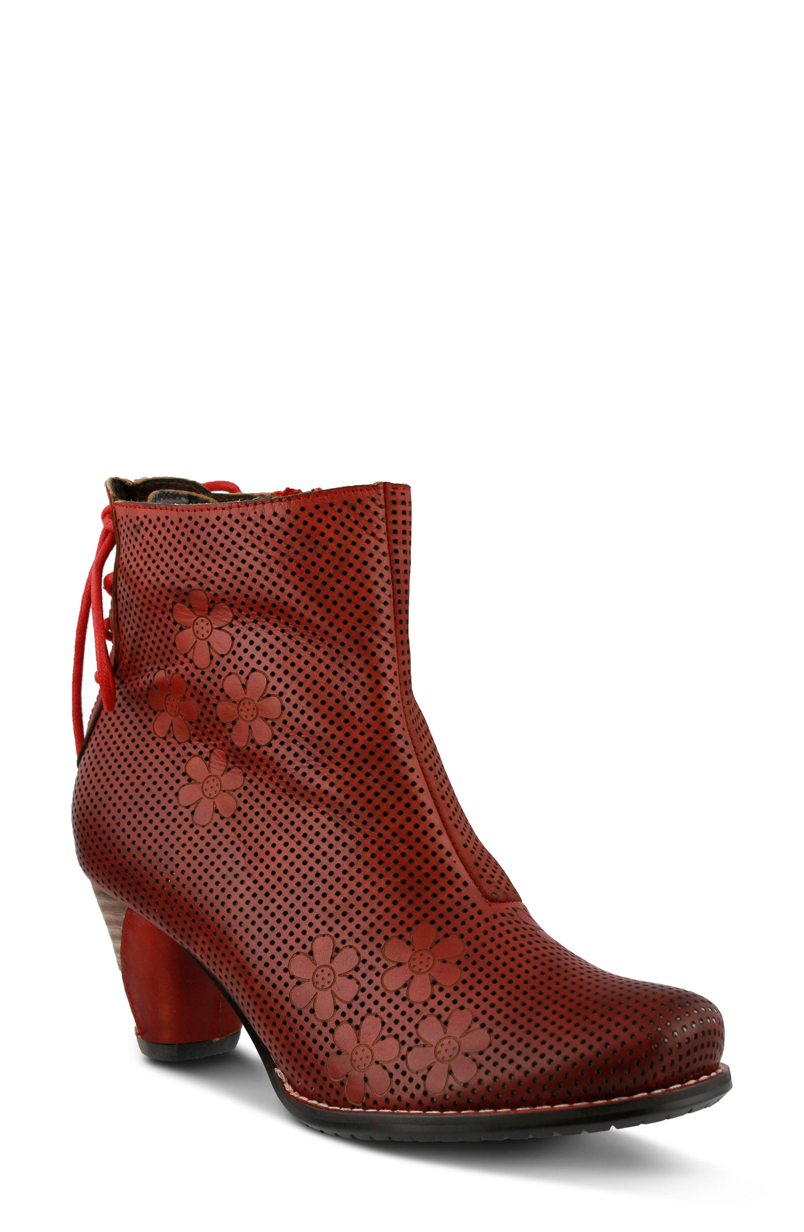 L'Artiste Teca Bootie,                             Main thumbnail 1, color,                             Red Leather