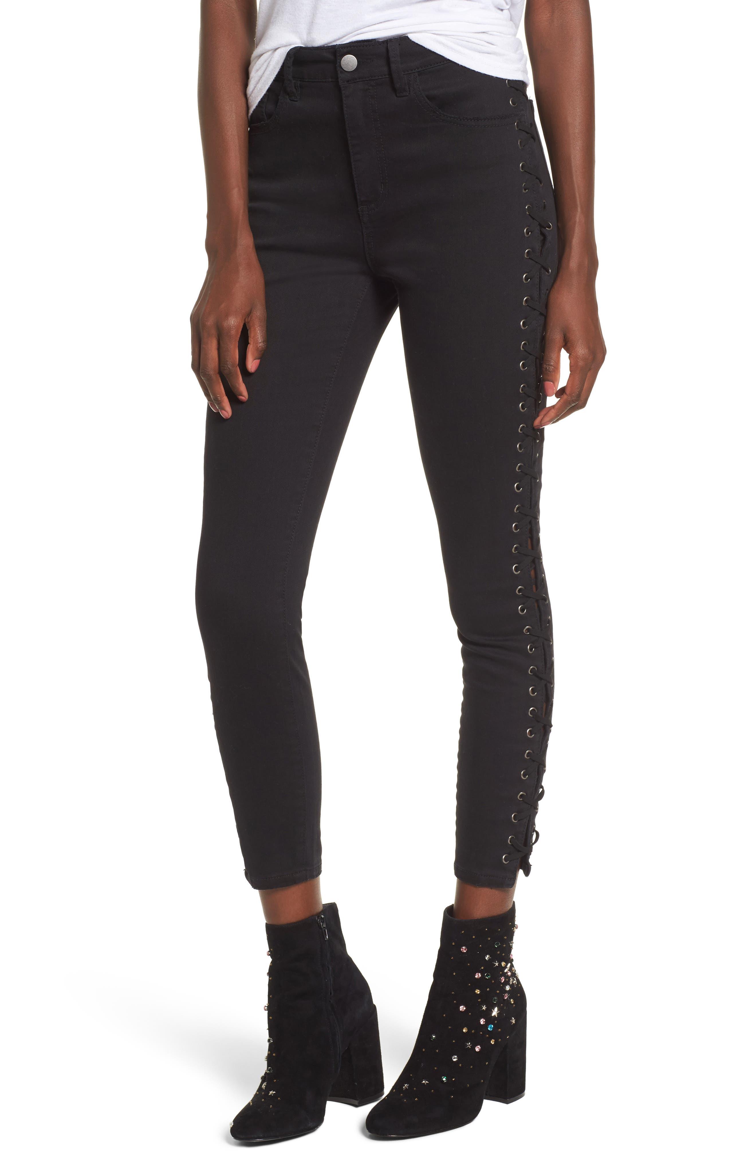 Lace-Up Skinny Jeans,                             Main thumbnail 1, color,                             Black Rinse Wash