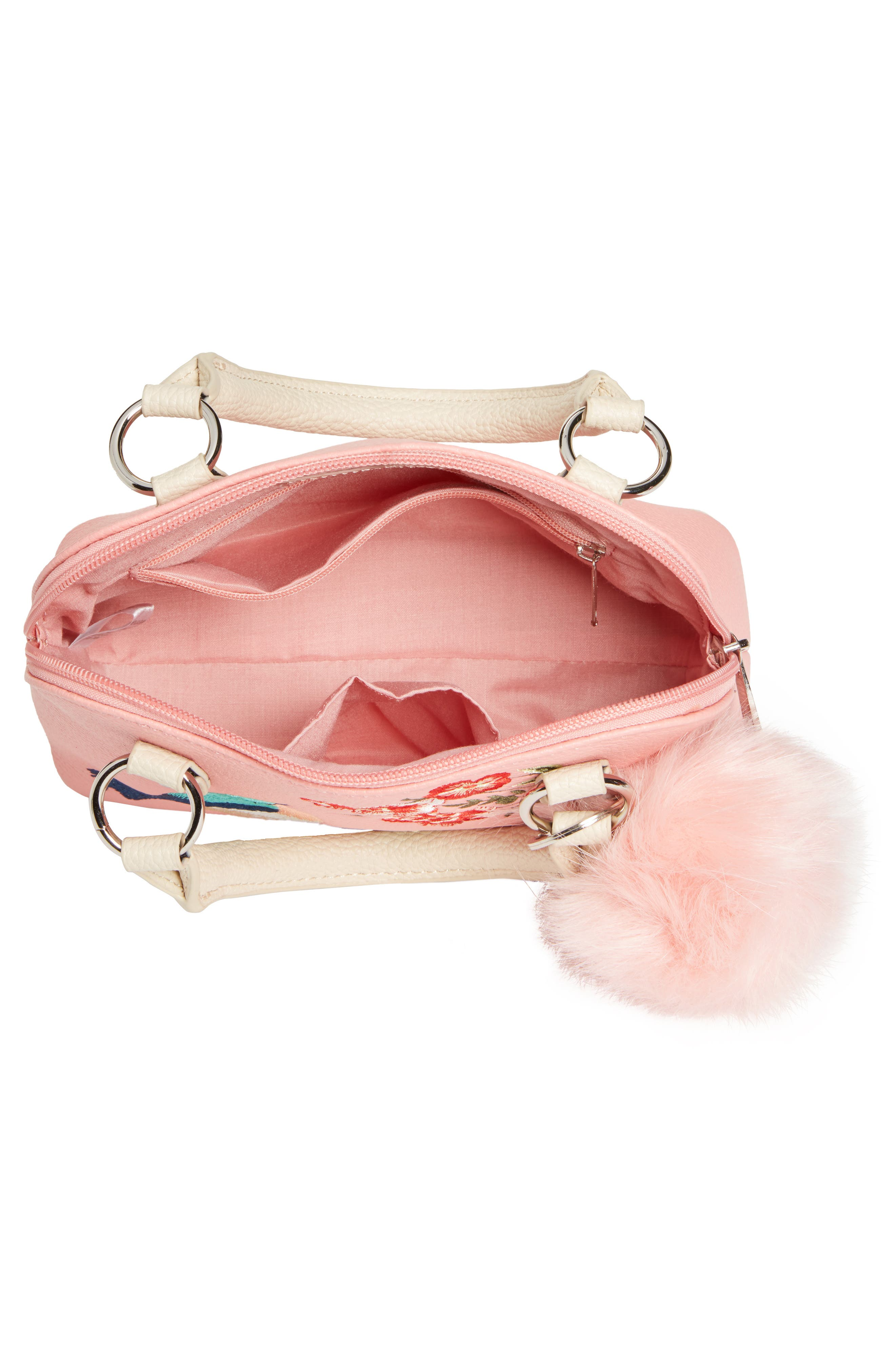 Embroidered Handbag,                             Alternate thumbnail 3, color,                             Pink