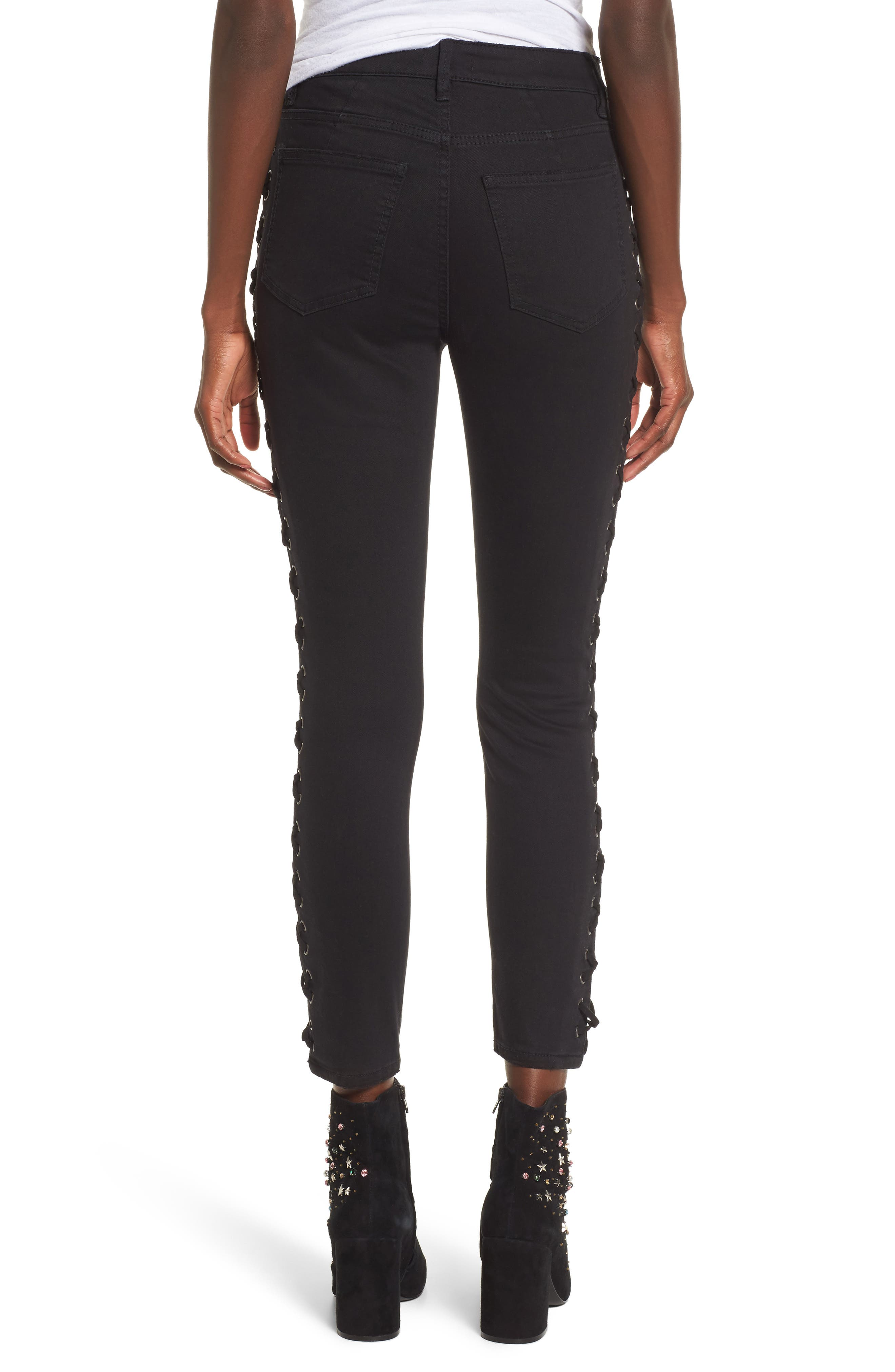 Lace-Up Skinny Jeans,                             Alternate thumbnail 2, color,                             Black Rinse Wash