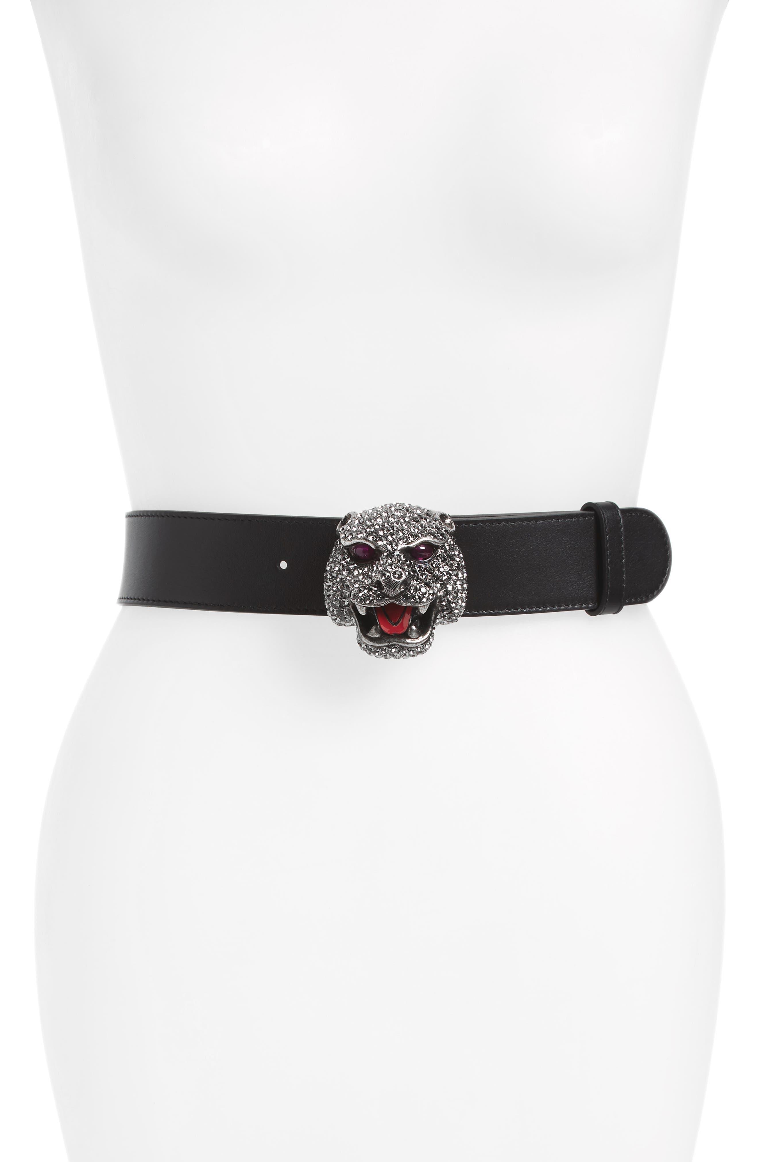 Tiger Buckle Calfskin Leather Belt,                         Main,                         color, Black