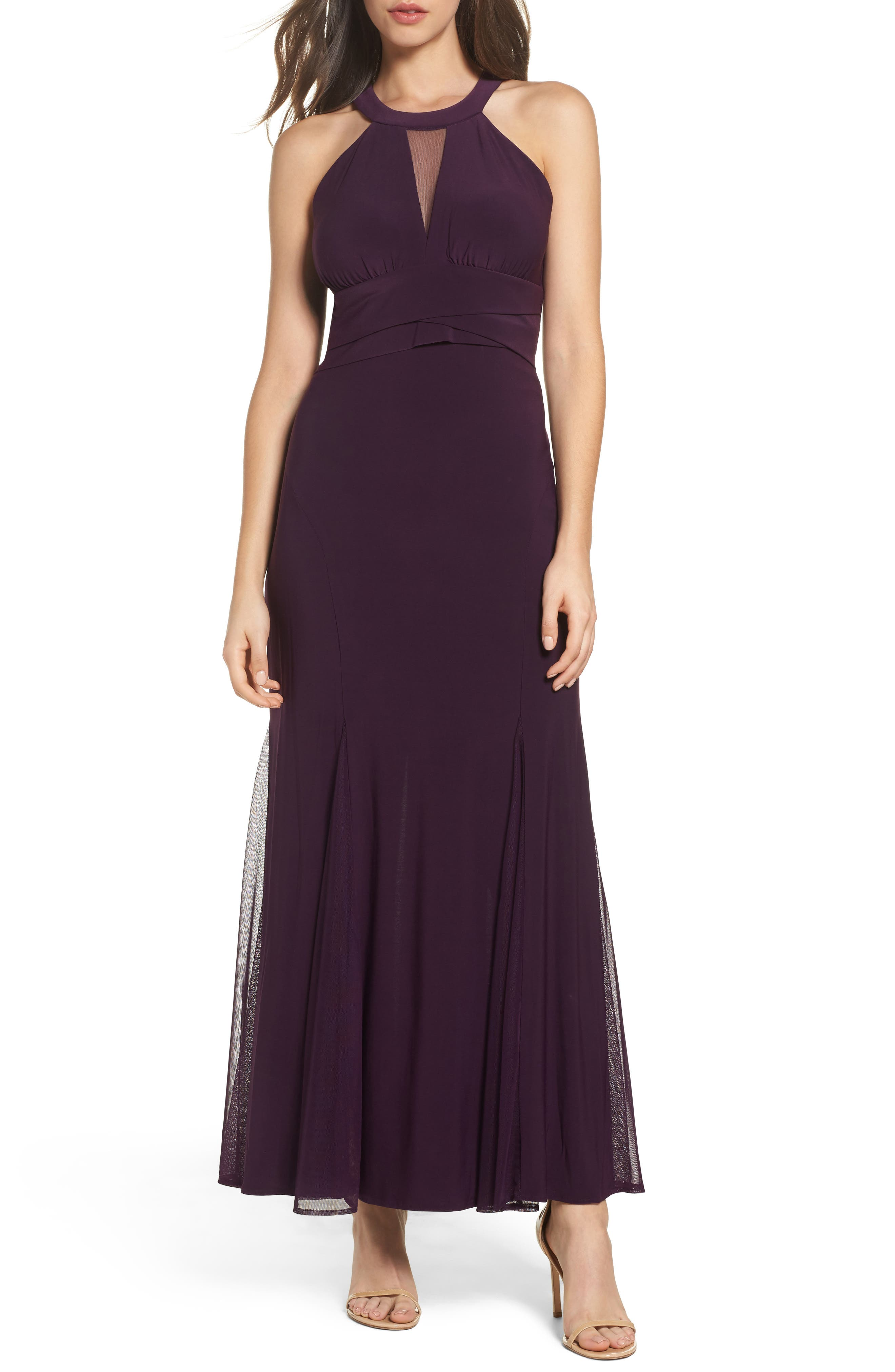Mesh Insert Halter Neck Mermaid Dress,                             Main thumbnail 1, color,                             Plum
