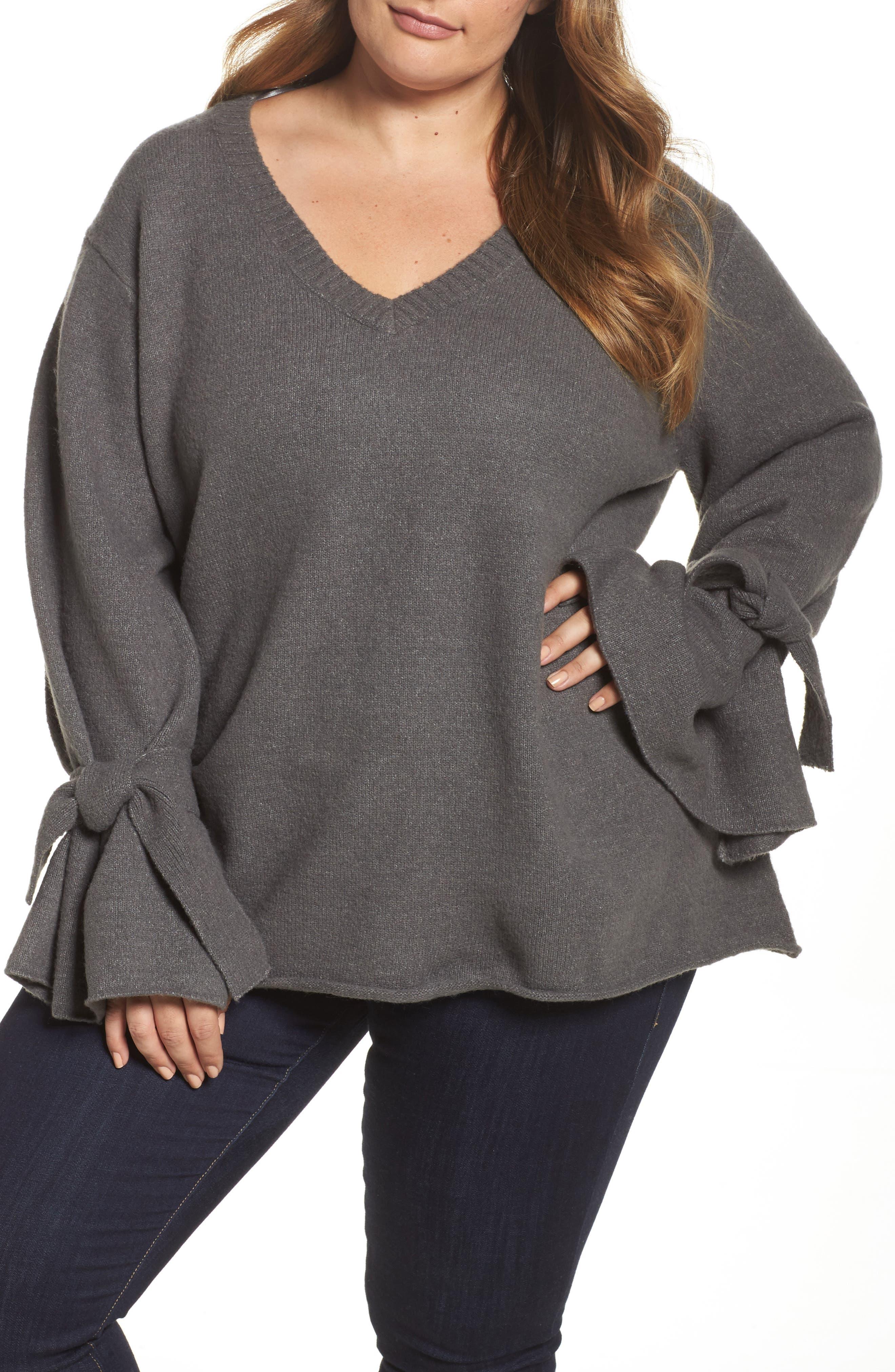 Alternate Image 1 Selected - Glamorous Tie Sleeve Sweater (Plus Size)