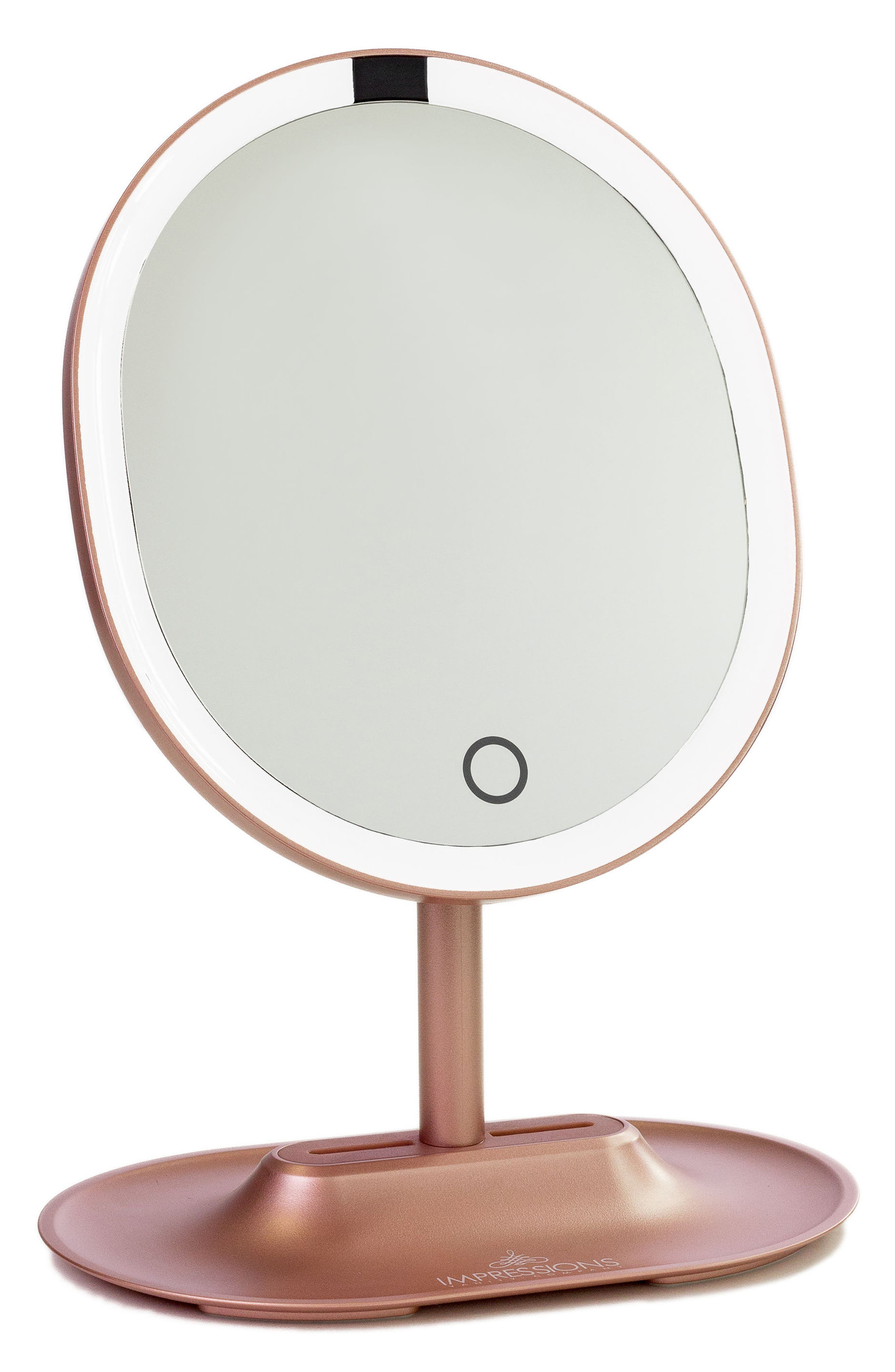 Touch Wave Motion Activated LED Makeup Mirror,                         Main,                         color, Rose Gold