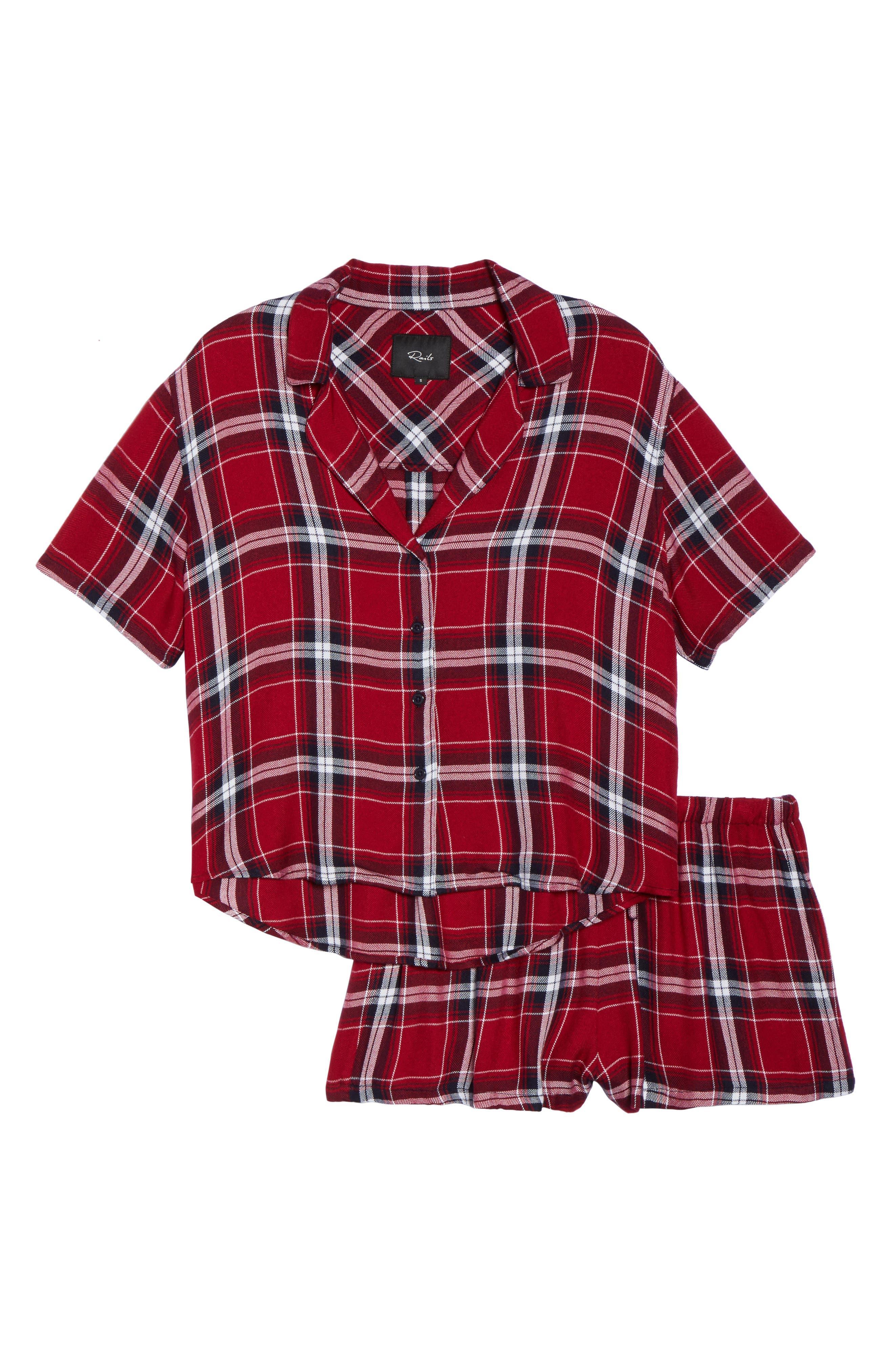 Plaid Short Pajamas,                             Alternate thumbnail 4, color,                             Crimson/ Navy