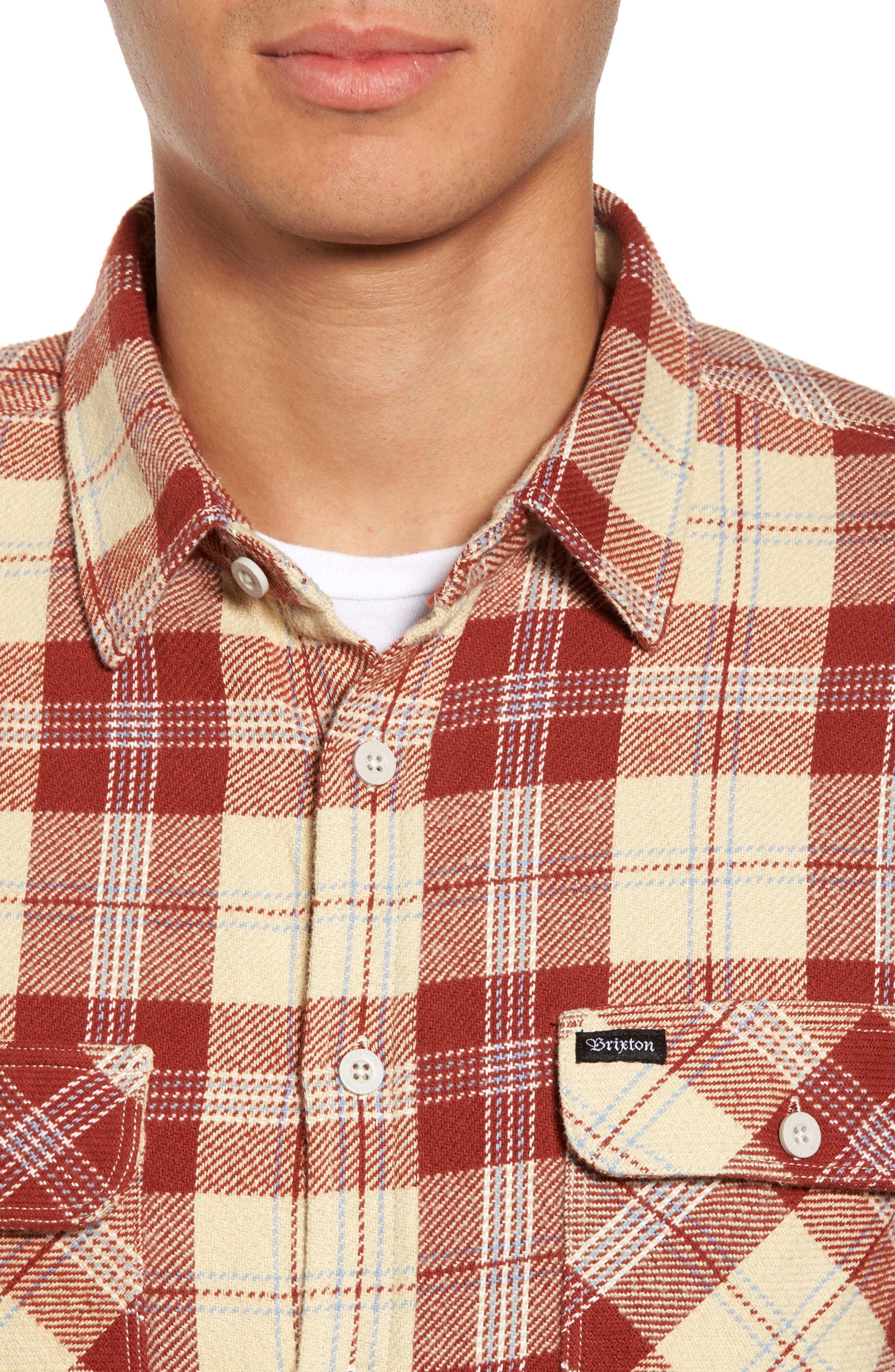 'Archie' Plaid Flannel Shirt,                             Alternate thumbnail 4, color,                             Brick