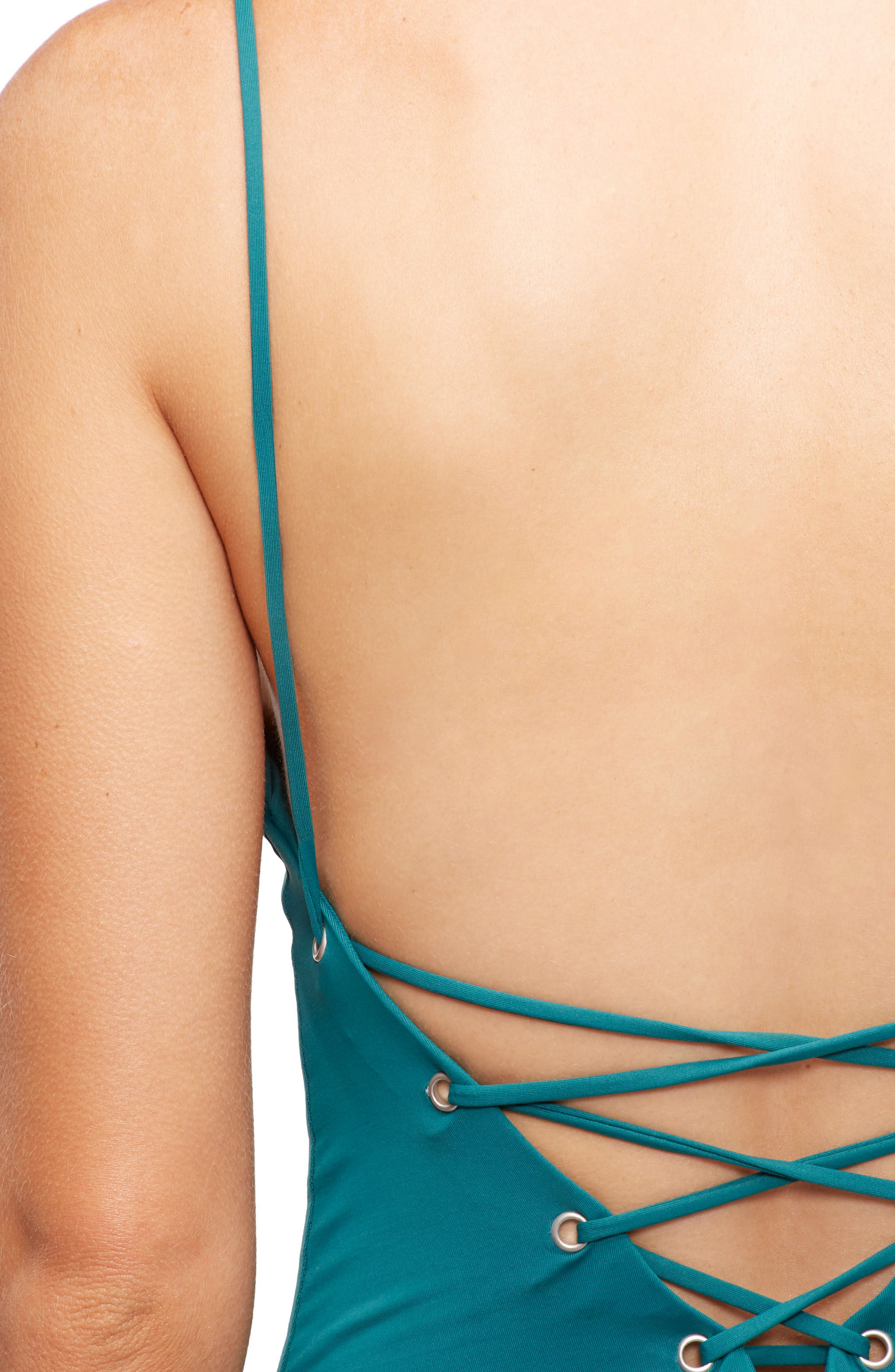 Monahan One-Piece Swimsuit,                             Alternate thumbnail 4, color,                             Storm Green