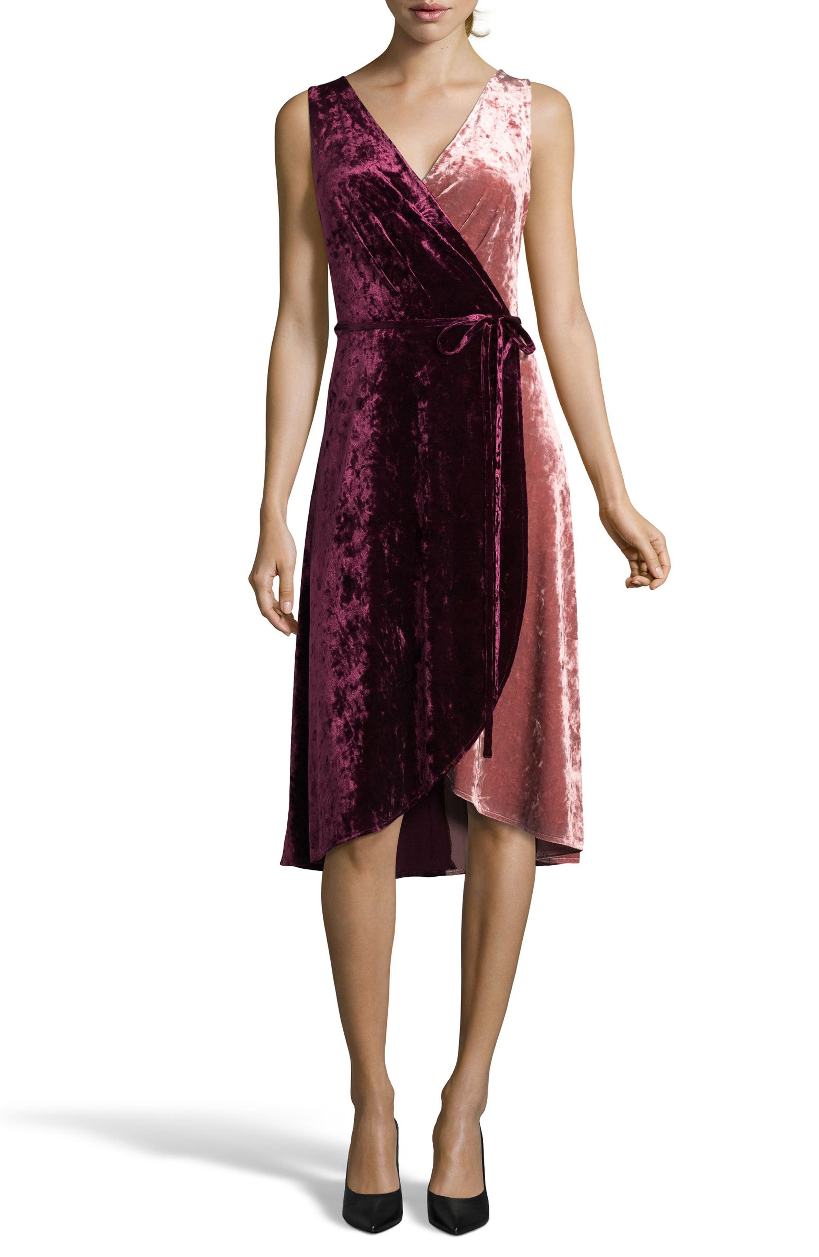 Crushed Velvet Wrap Dress,                         Main,                         color, Wine/ Blush