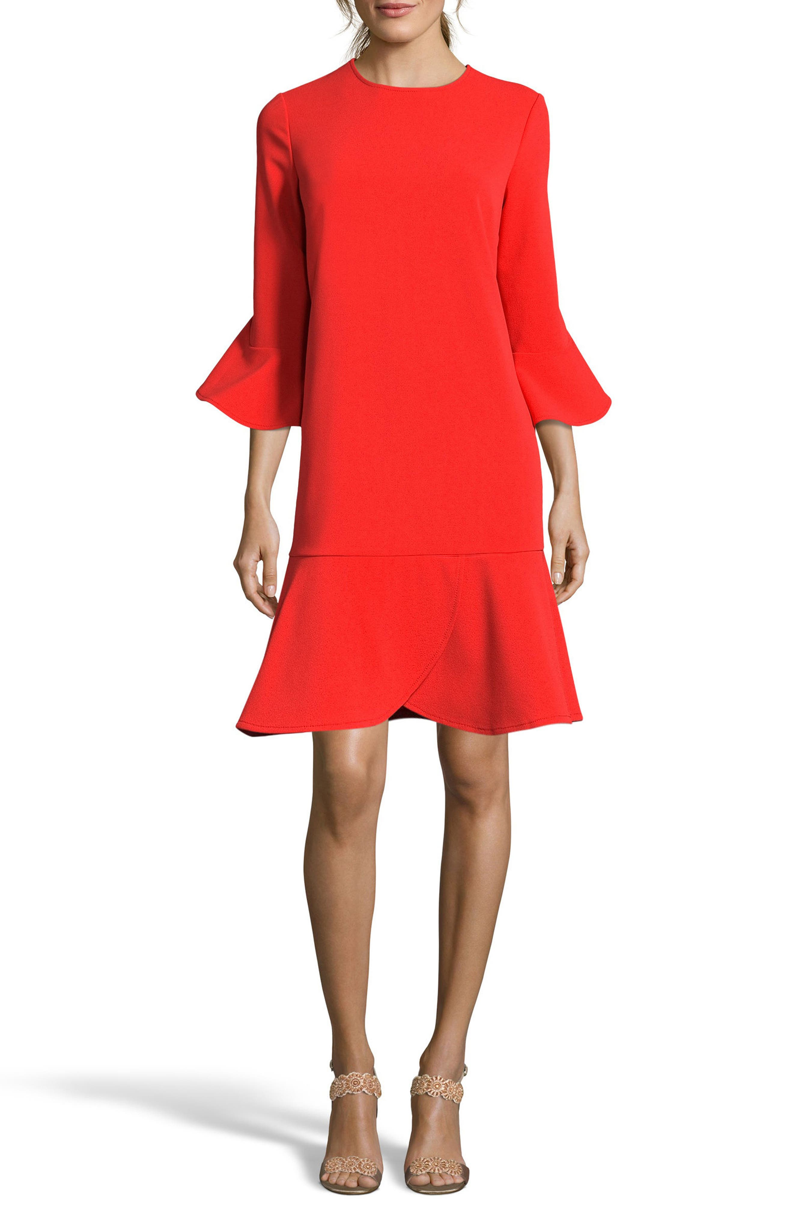 Ruffle Bell Sleeve Shift Dress,                         Main,                         color, Coral/ Red