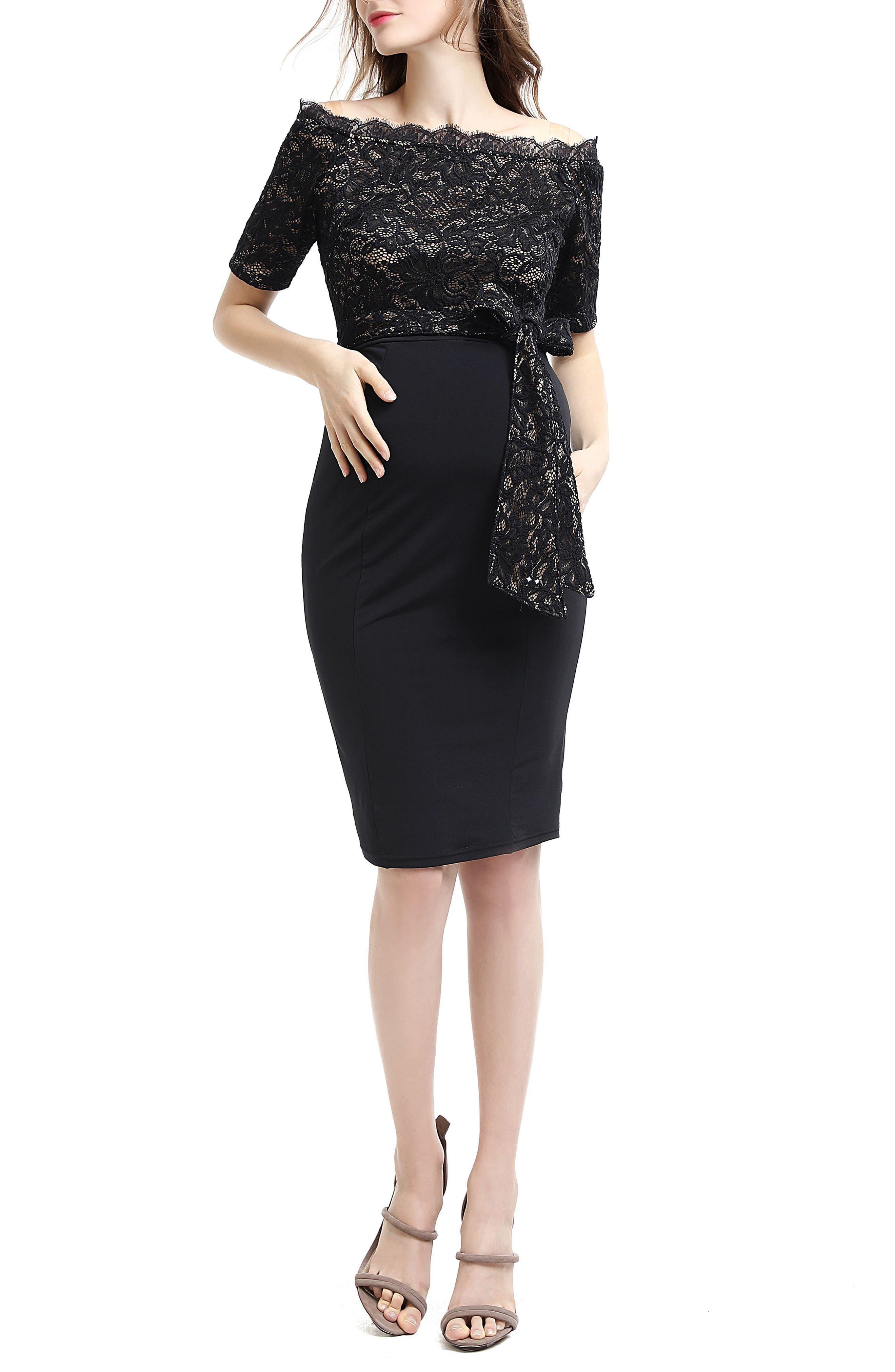 Madeline Off the Shoulder Maternity Dress,                             Main thumbnail 1, color,                             Black