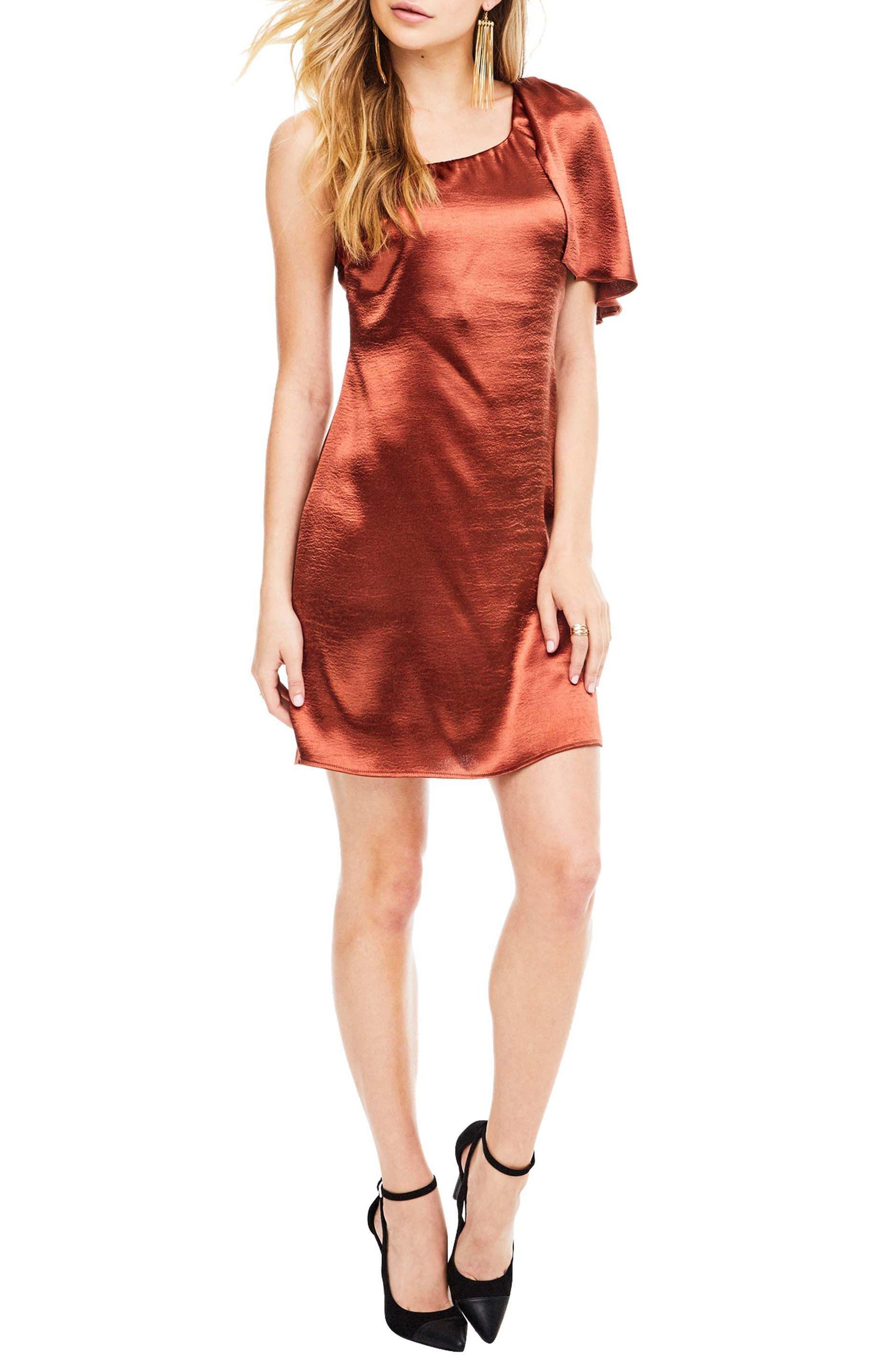 Crystalyn One Shoulder Minidress,                         Main,                         color, Rust