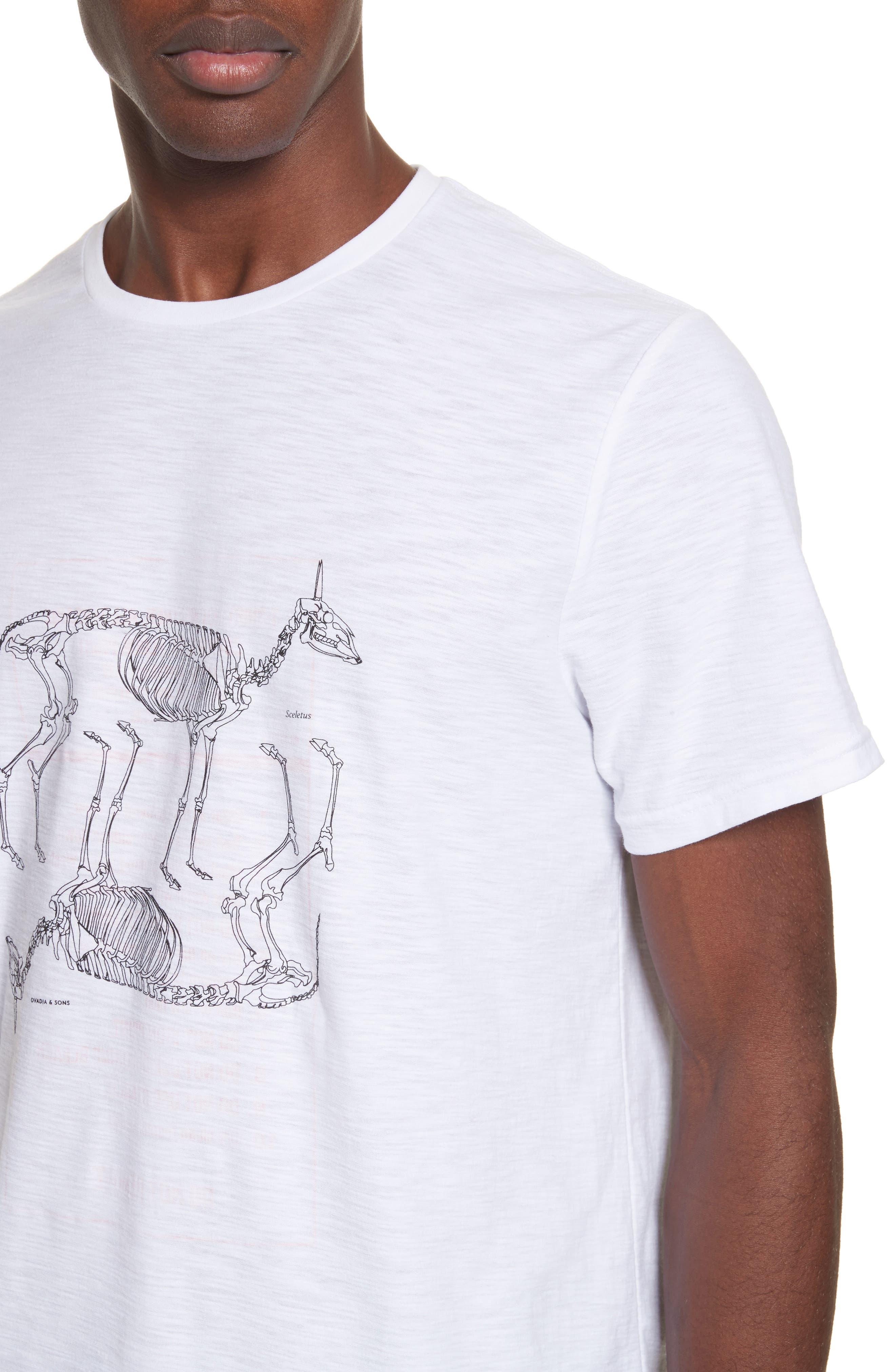 Animal Skeleton Graphic T-Shirt,                             Alternate thumbnail 4, color,                             White