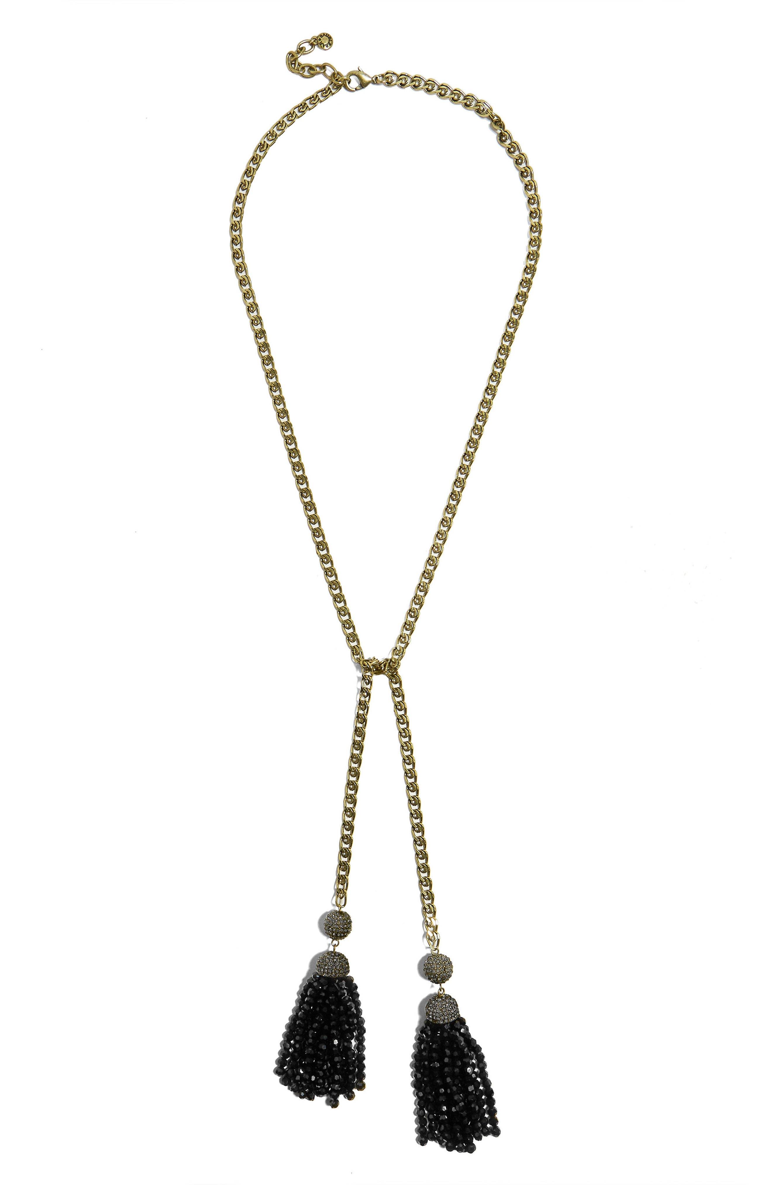 Tinsley Lariat Tassel Necklace,                         Main,                         color, Black