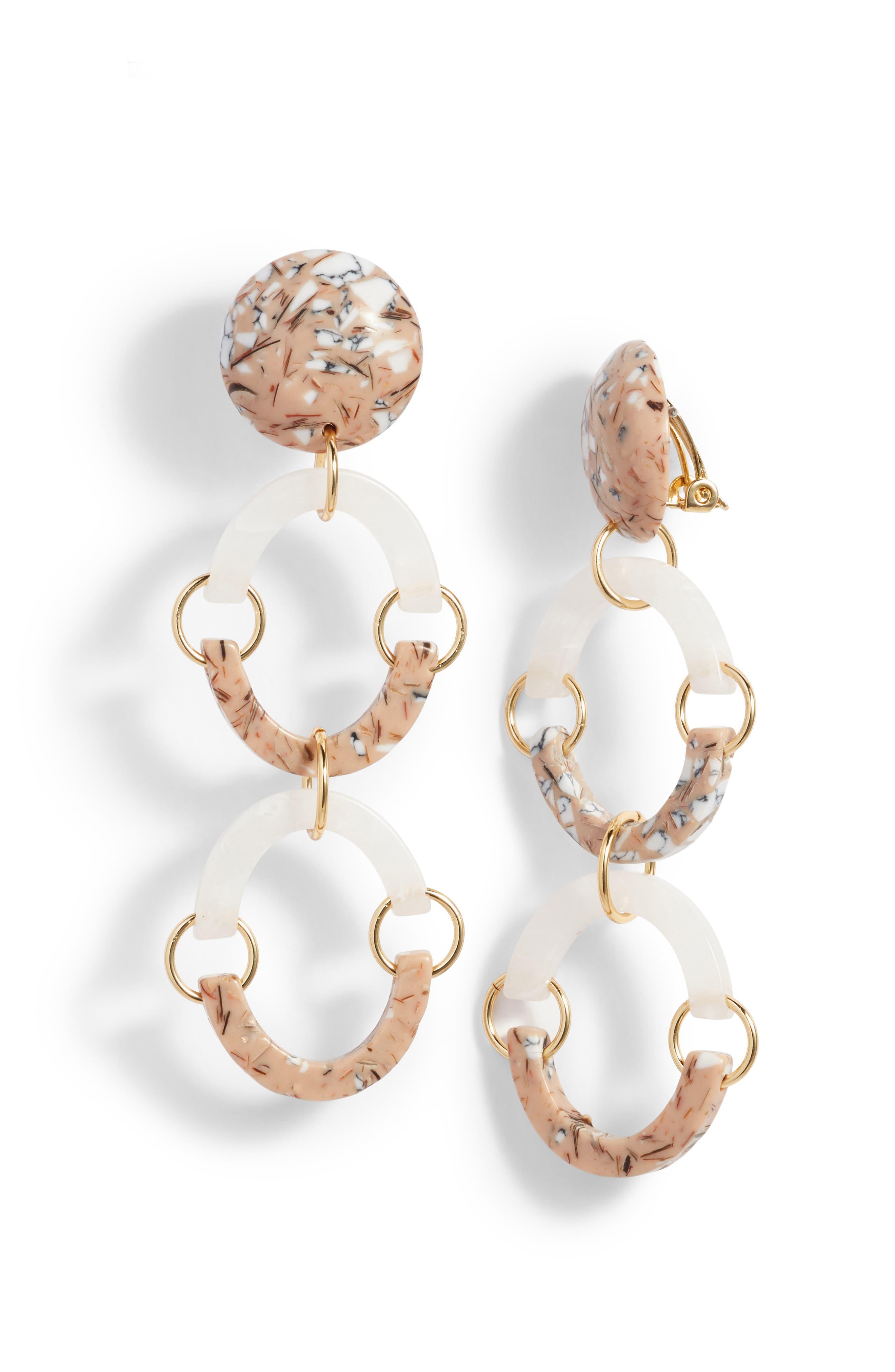 Confetti Rainbow Arch Clip Drop Earrings,                         Main,                         color, Rose Quartz