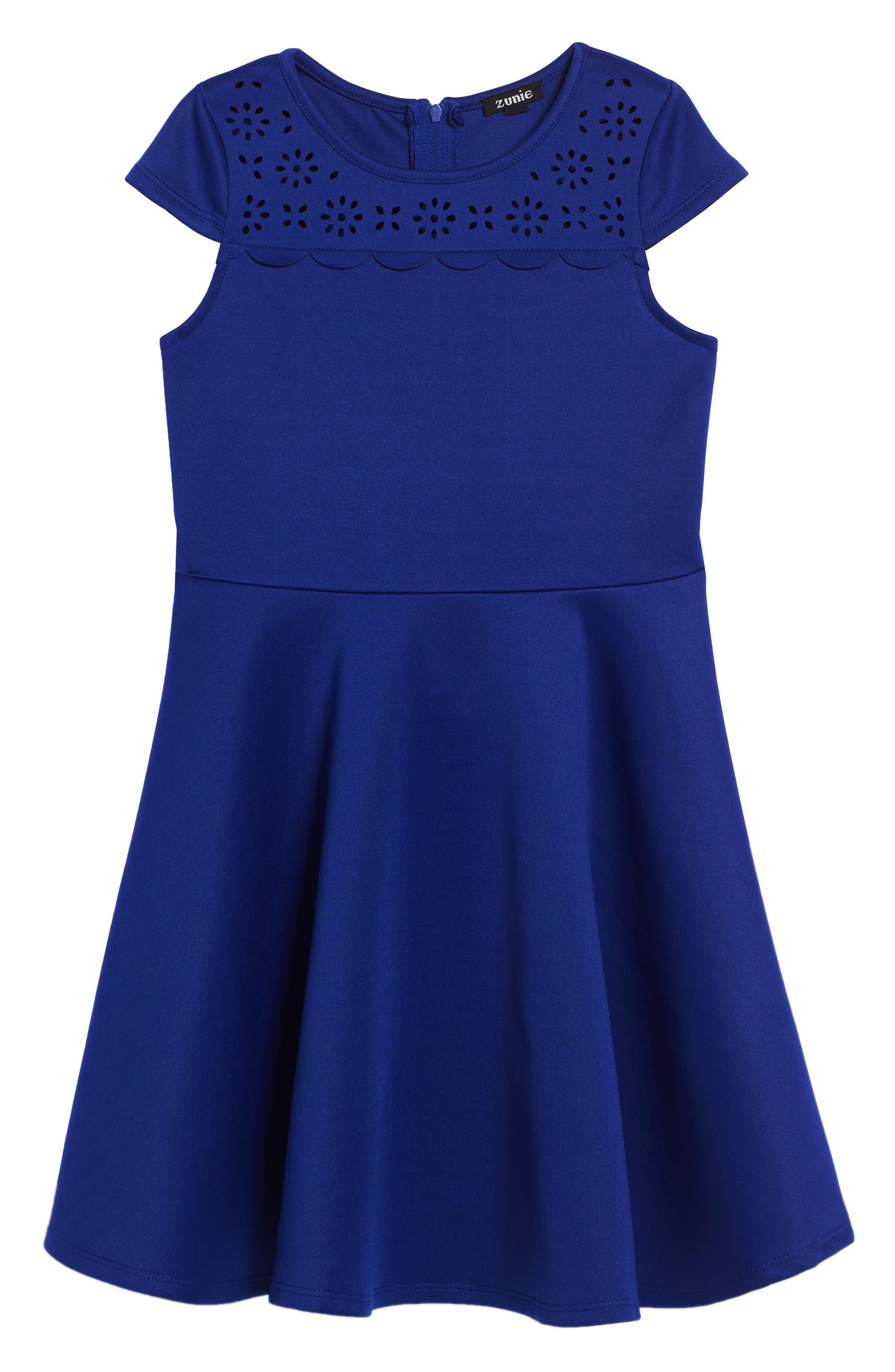Cap Sleeve Skater Dress,                         Main,                         color, Cobalt