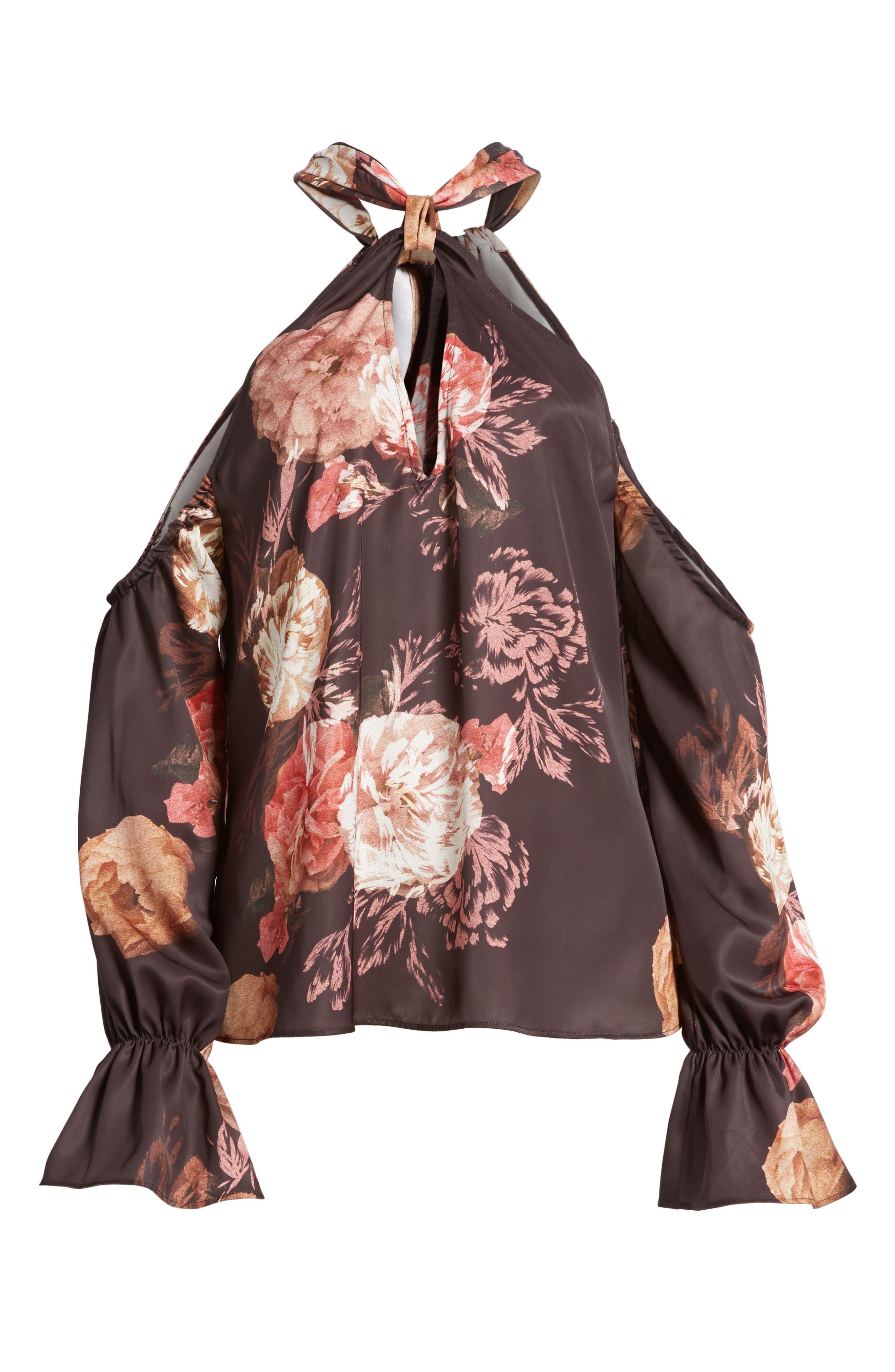 Marnie Victorian Floral Cold Shoulder Top,                             Alternate thumbnail 6, color,                             Victorian Floral