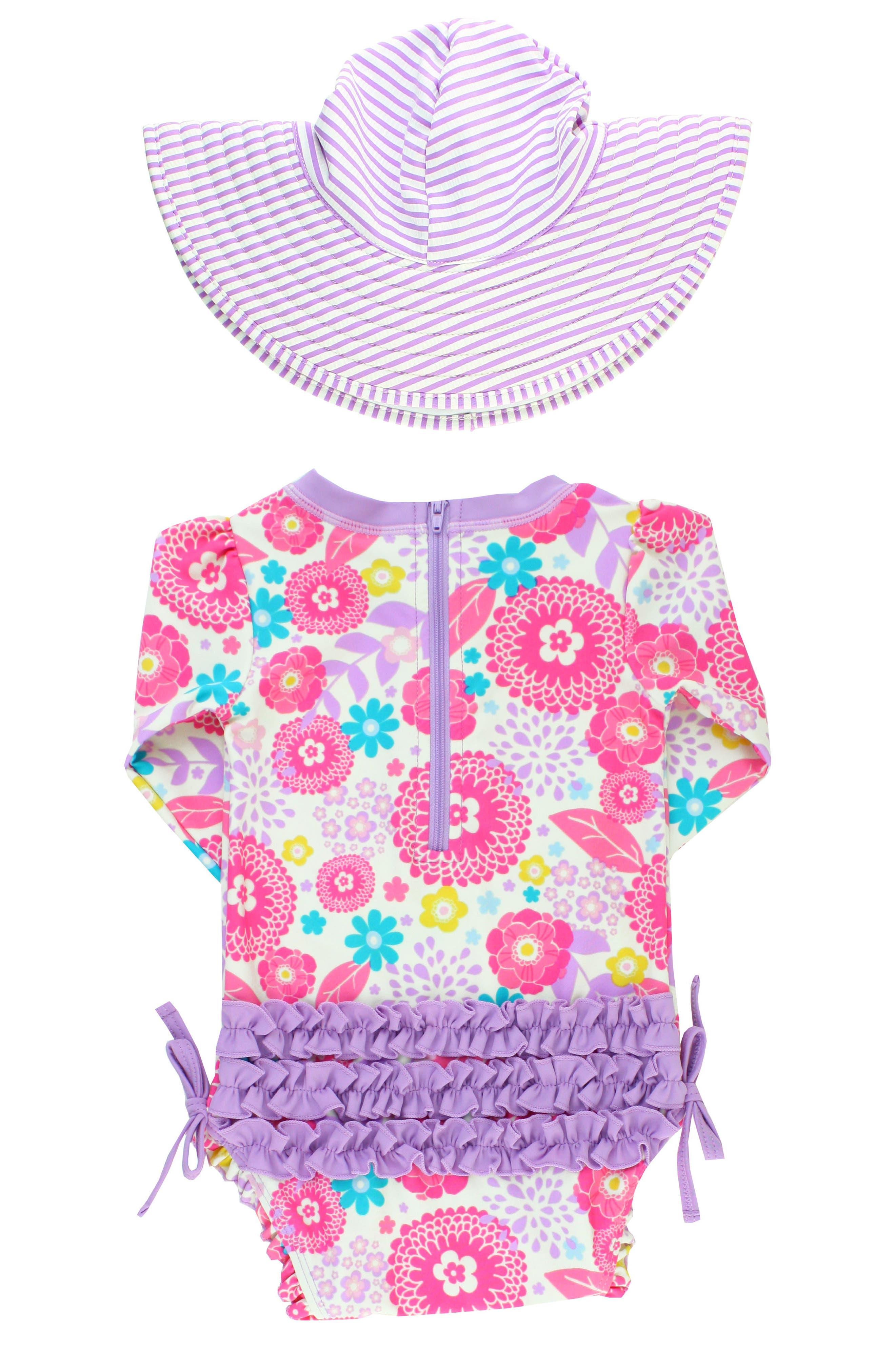 Alternate Image 4  - RuffleButts Blooming Buttercups One-Piece Rashguard Swimsuit & Hat Set (Baby Girls)