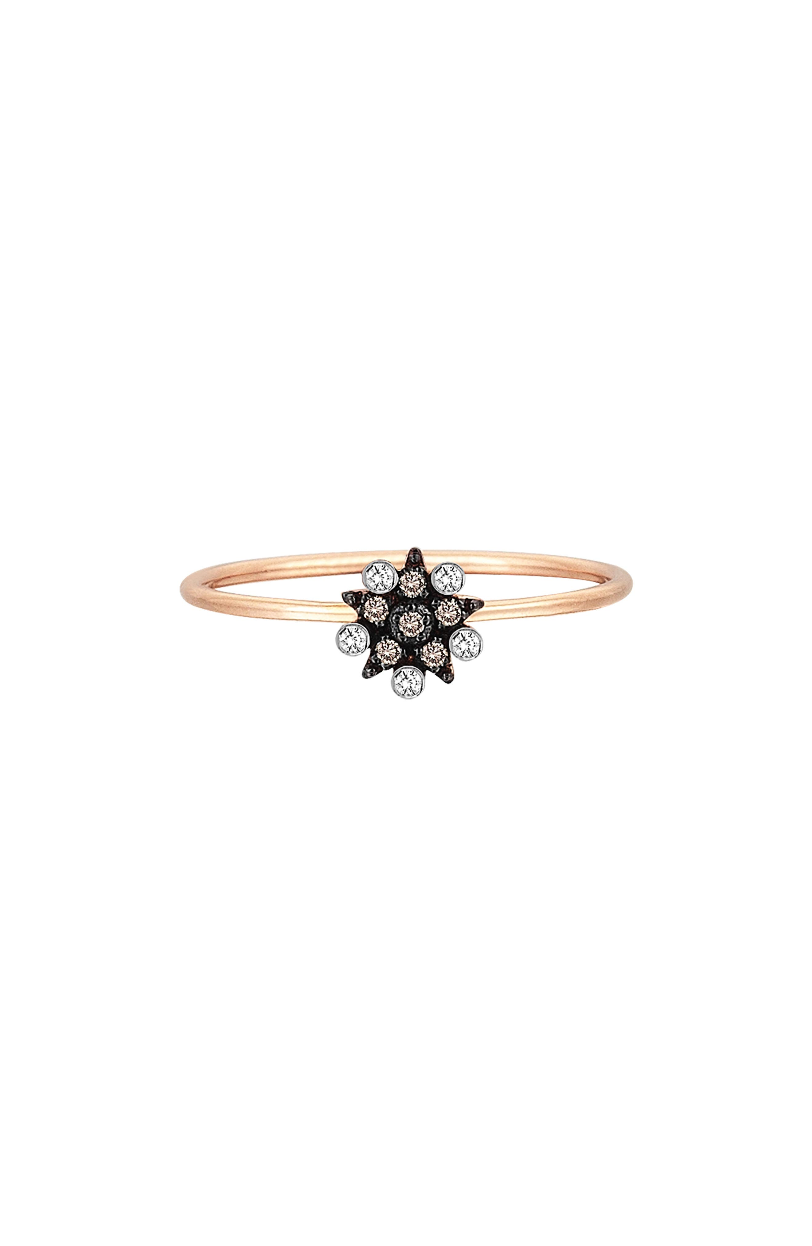 Kismet by Milka Small Eclectic Diamond Star Stacking Ring