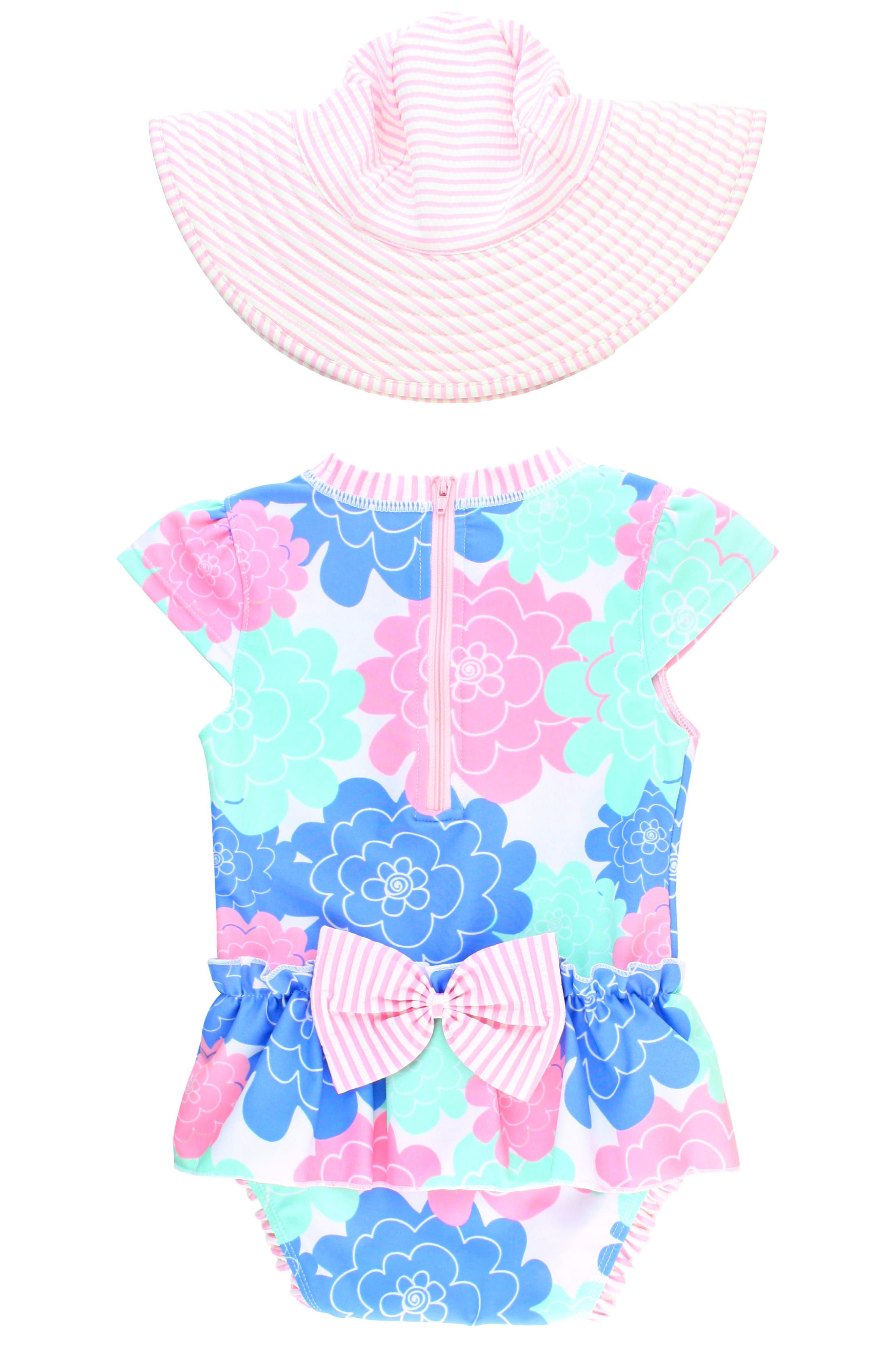 Alternate Image 2  - Ruffle Butts Pastel Petals One-Piece Swimsuit & Hat Set (Baby Girls)