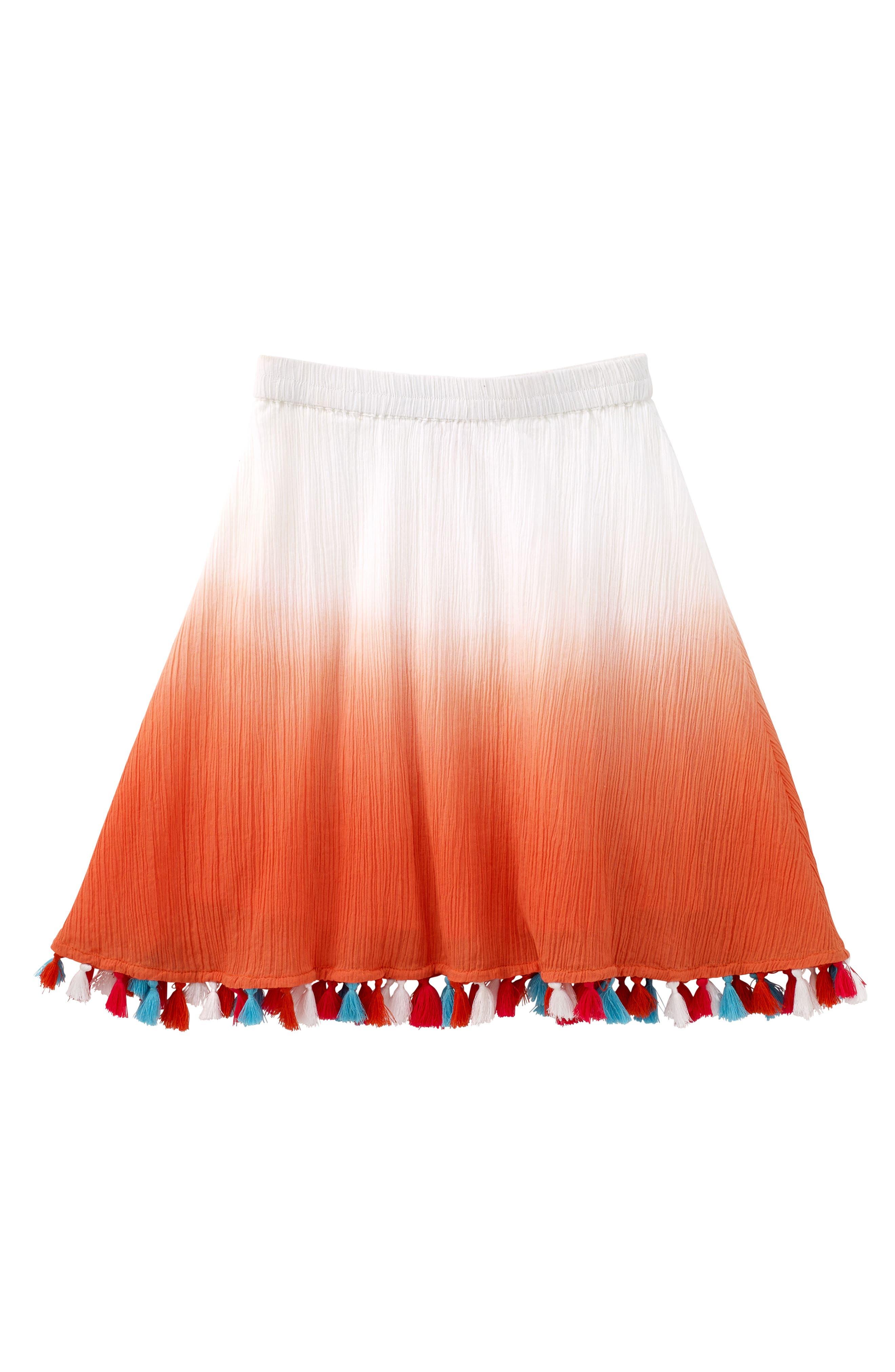 Dip Dye Tassel Skirt,                         Main,                         color, Coral