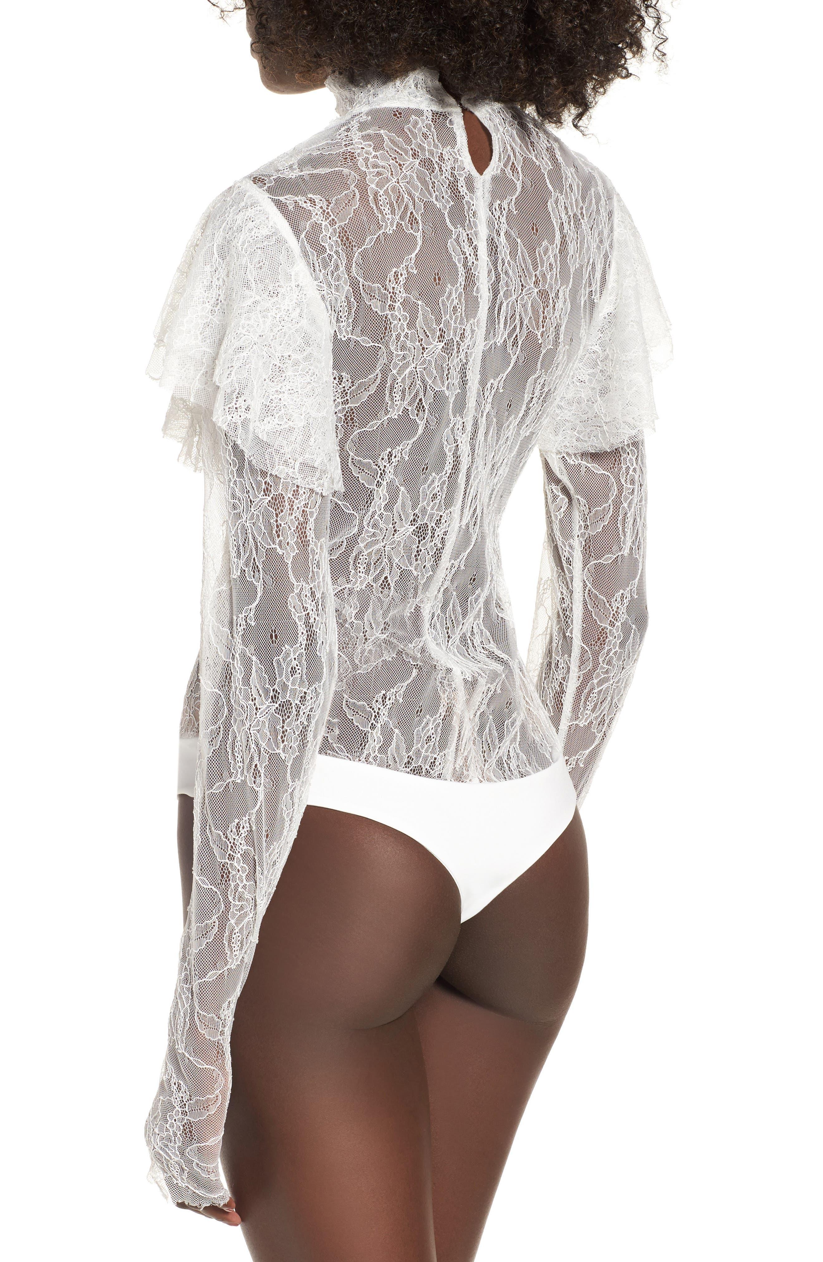 Esme Ruffle Lace Bodysuit,                             Alternate thumbnail 2, color,                             Blanc