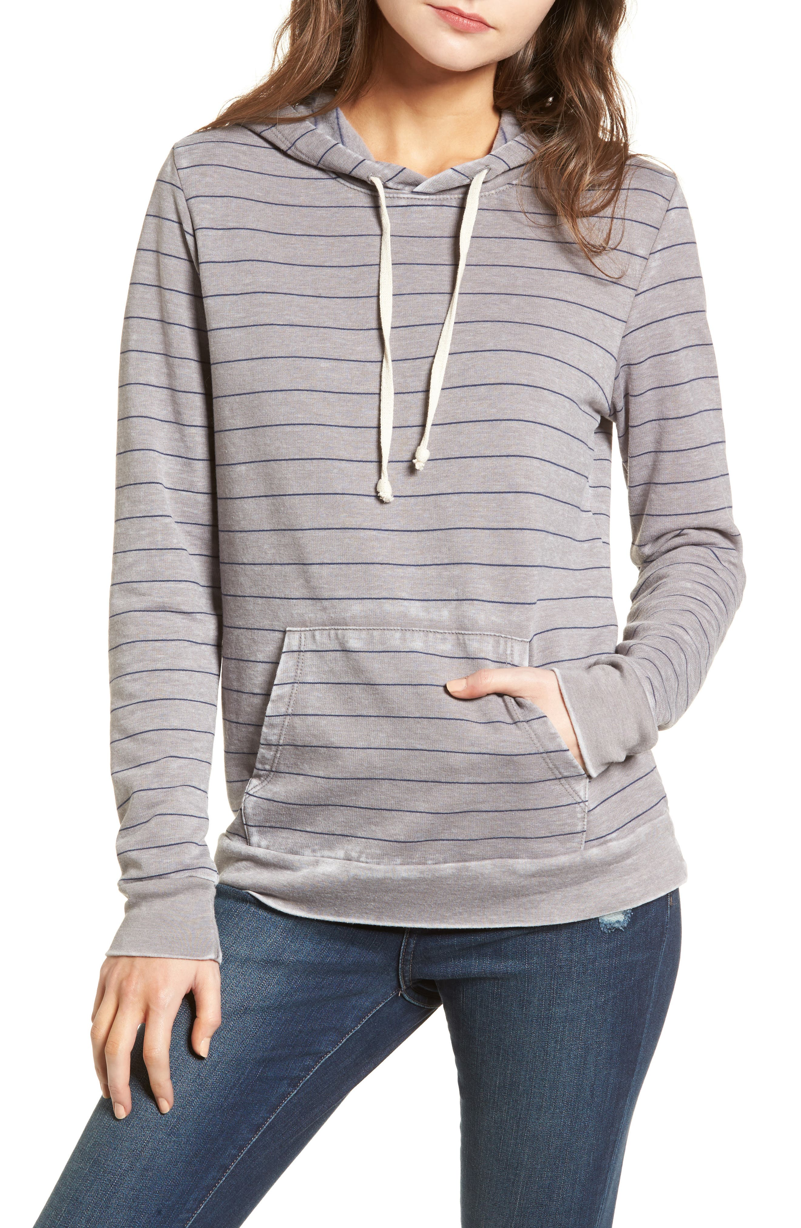 Burnout Hoodie,                         Main,                         color, Grey Dark Heather Stripe Combo