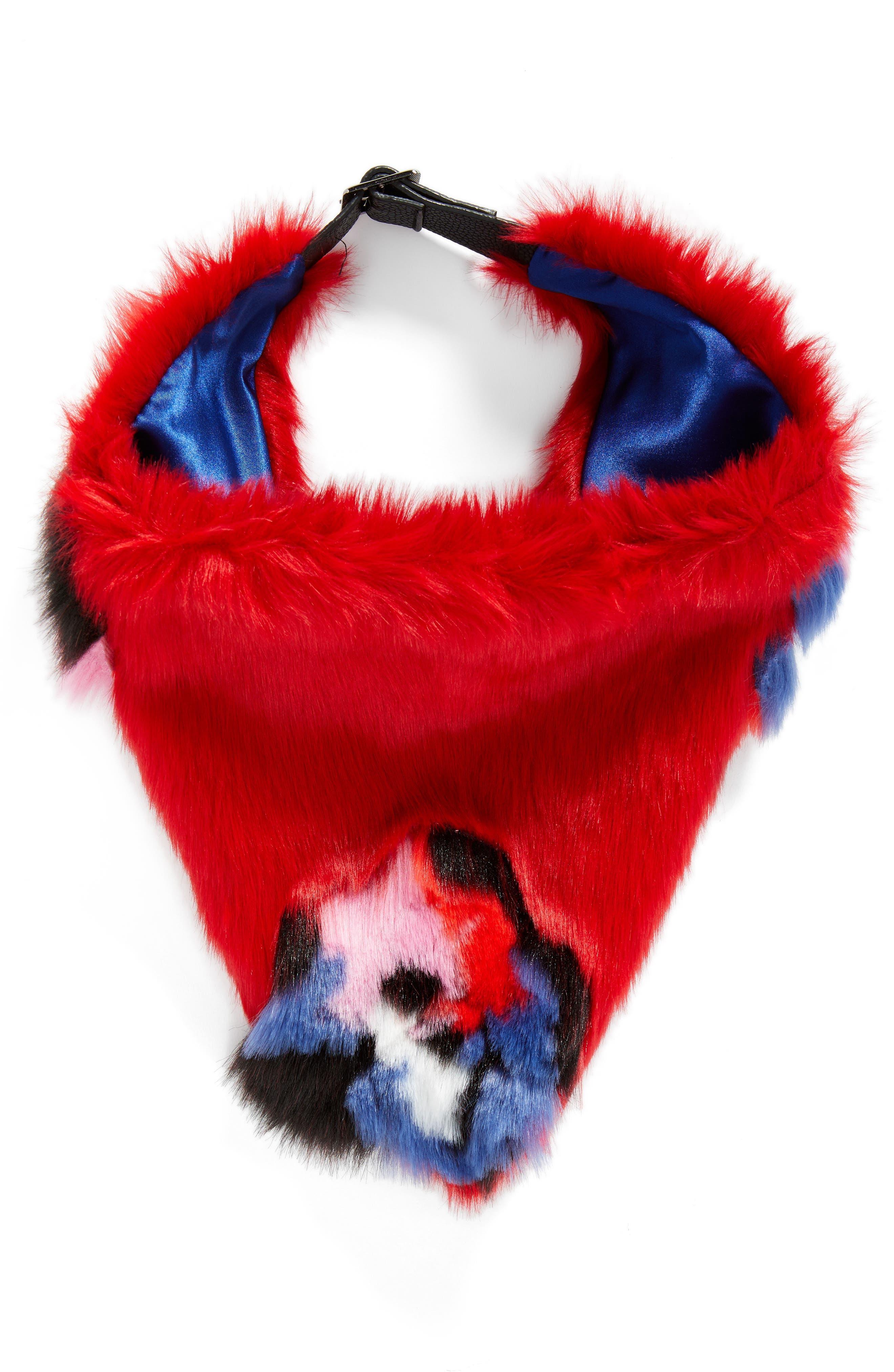 Triangle Faux Fur Scarf,                             Alternate thumbnail 3, color,                             Floral Fur