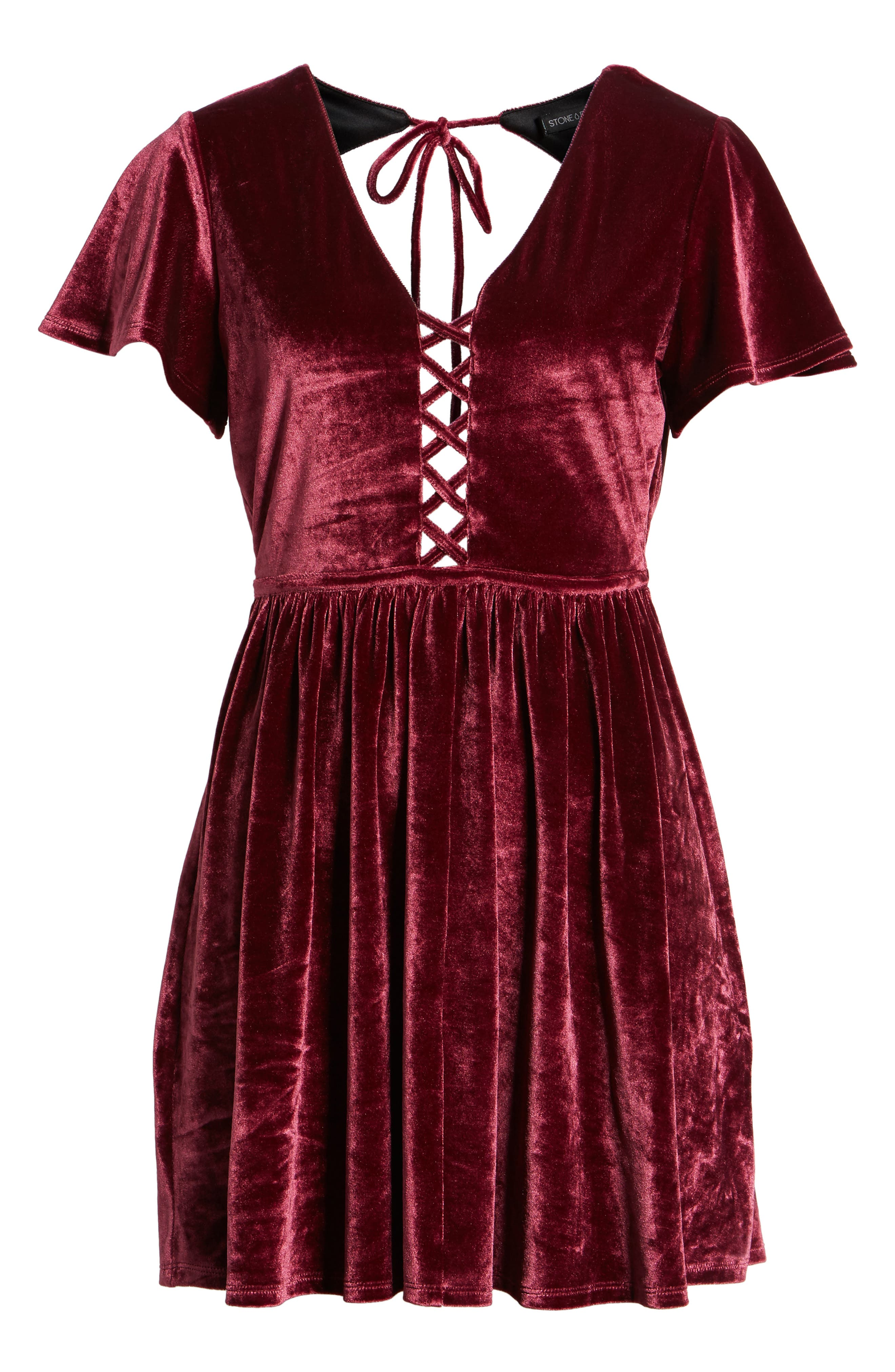 Velvacious Dress,                             Alternate thumbnail 7, color,                             Burgundy