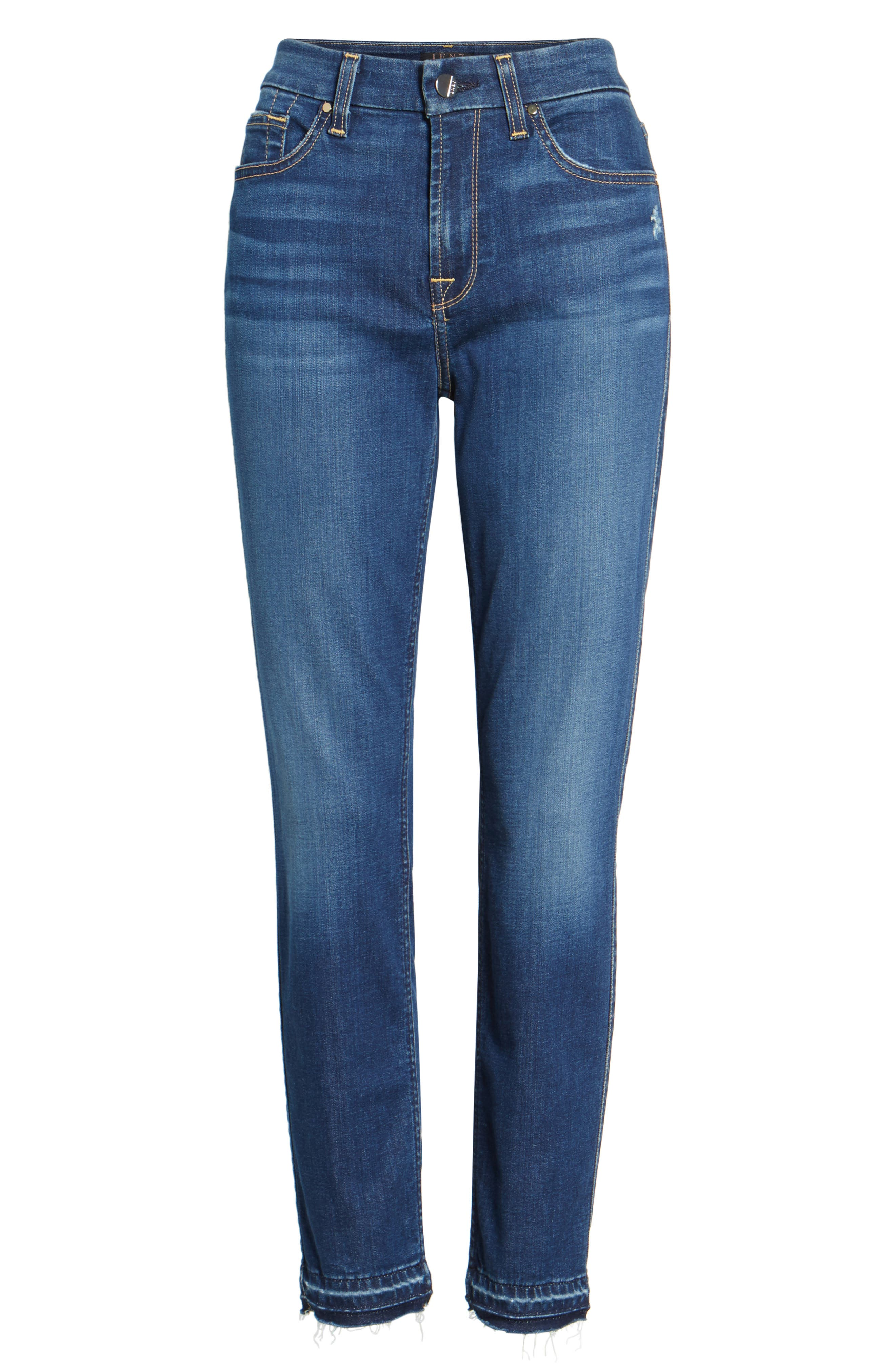 Release Hem Skinny Ankle Jeans,                             Alternate thumbnail 6, color,                             Riche Touch Medium Blue