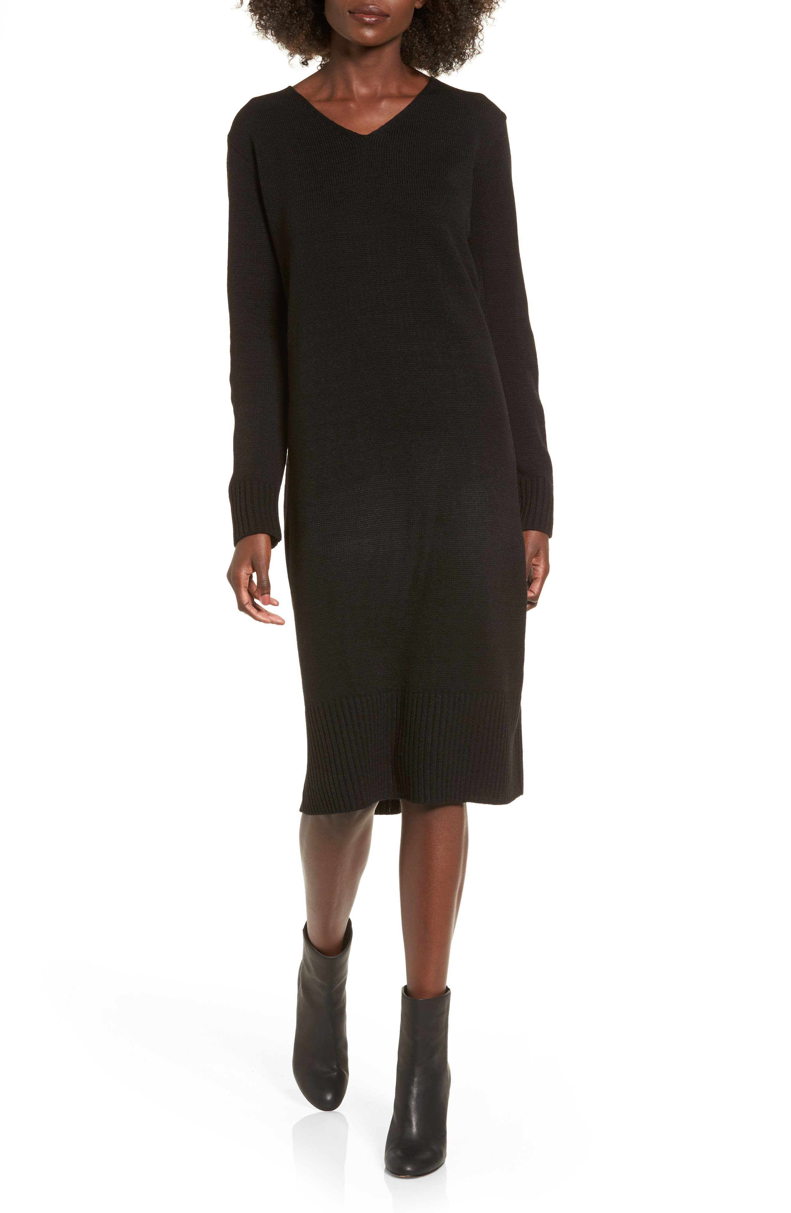 Sweater Dress,                             Main thumbnail 1, color,                             Black