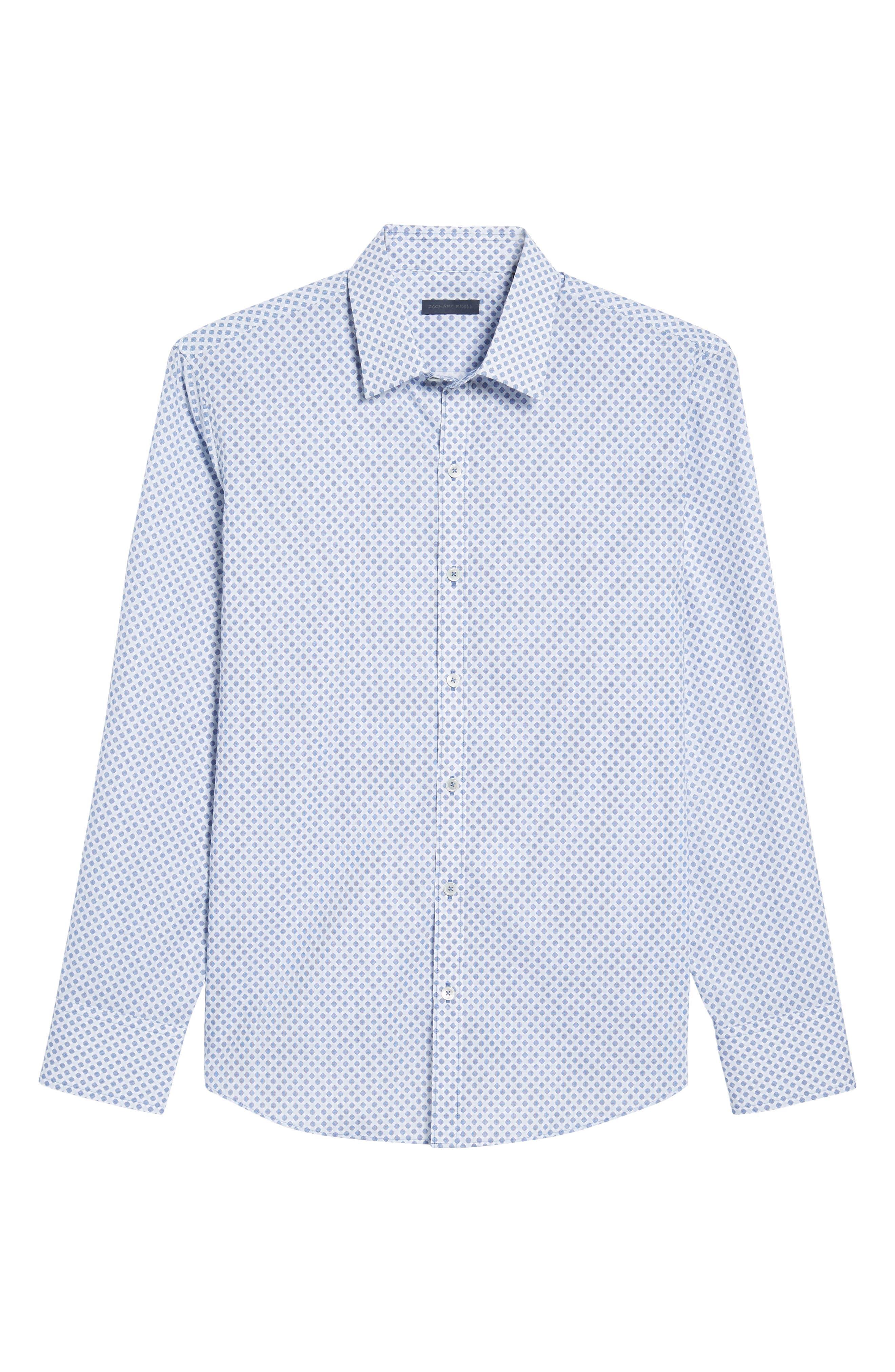 Obi Slim Fit Circle Print Sport Shirt,                             Alternate thumbnail 6, color,                             Navy