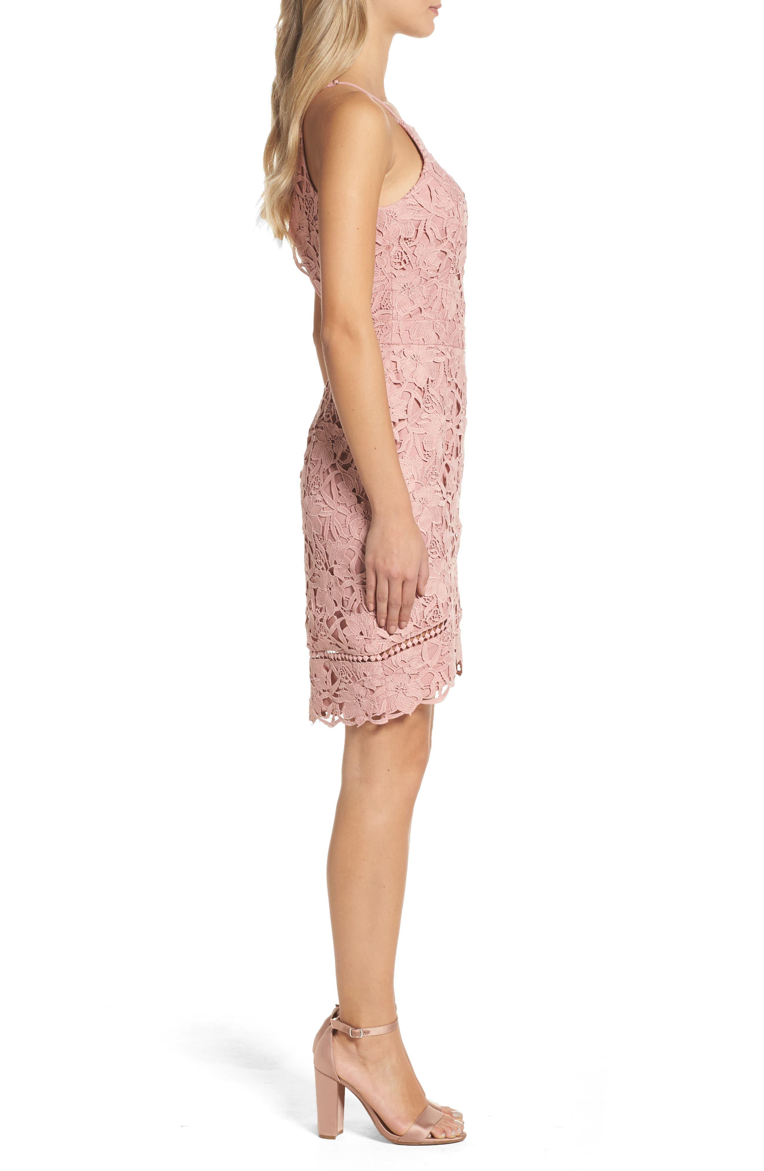 Lace Sheath Dress,                             Alternate thumbnail 3, color,                             Pink