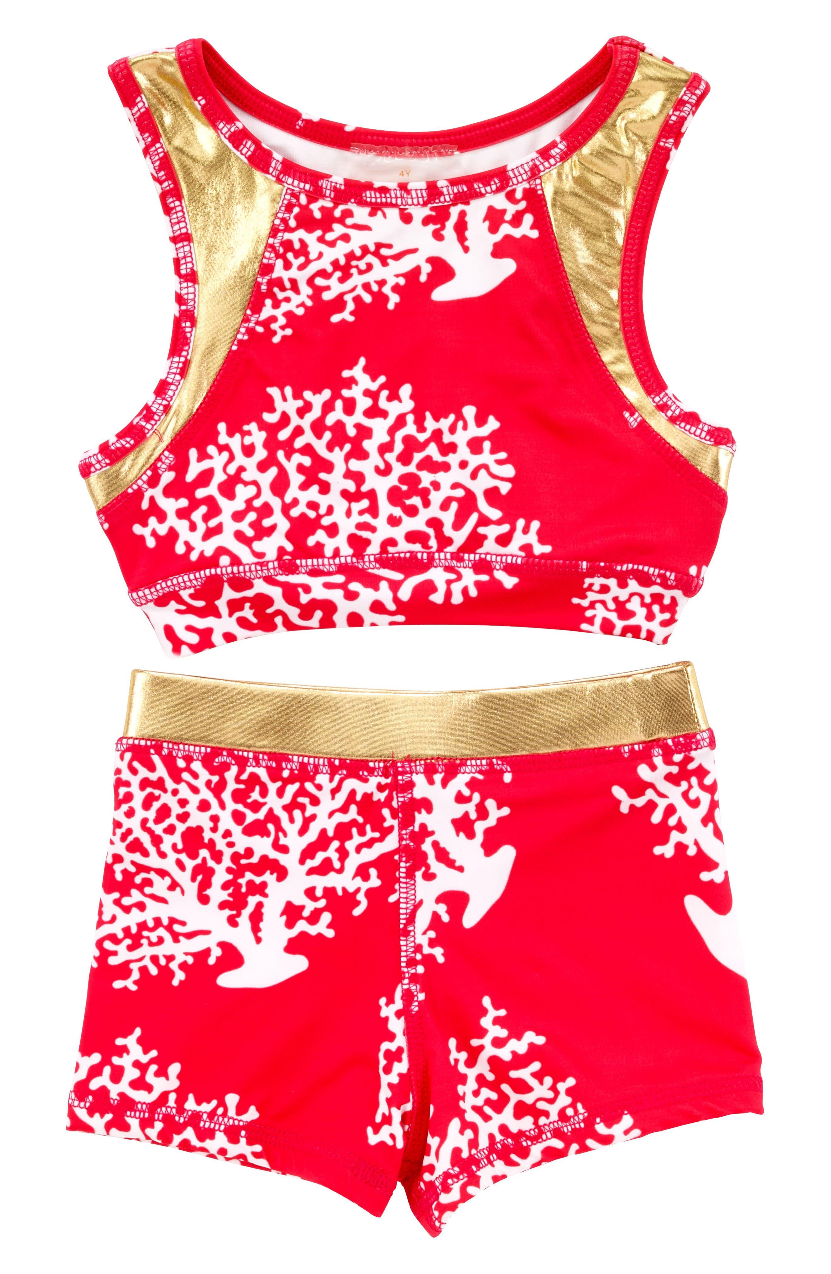 Alternate Image 1 Selected - Masala Baby Racerback Two-Piece Swimsuit (Toddler Girls, Little Girls & Big Girls)