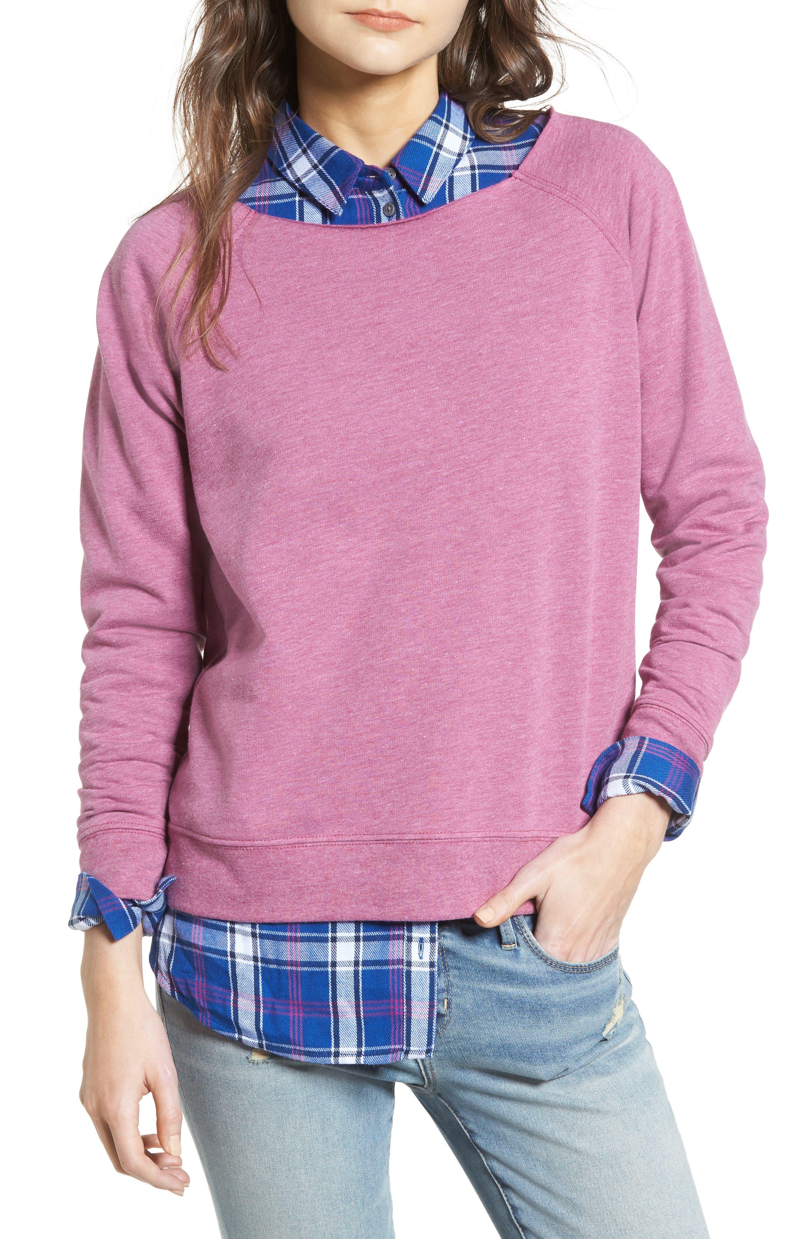 Raw Neck Sweatshirt,                         Main,                         color, Purple Boysen