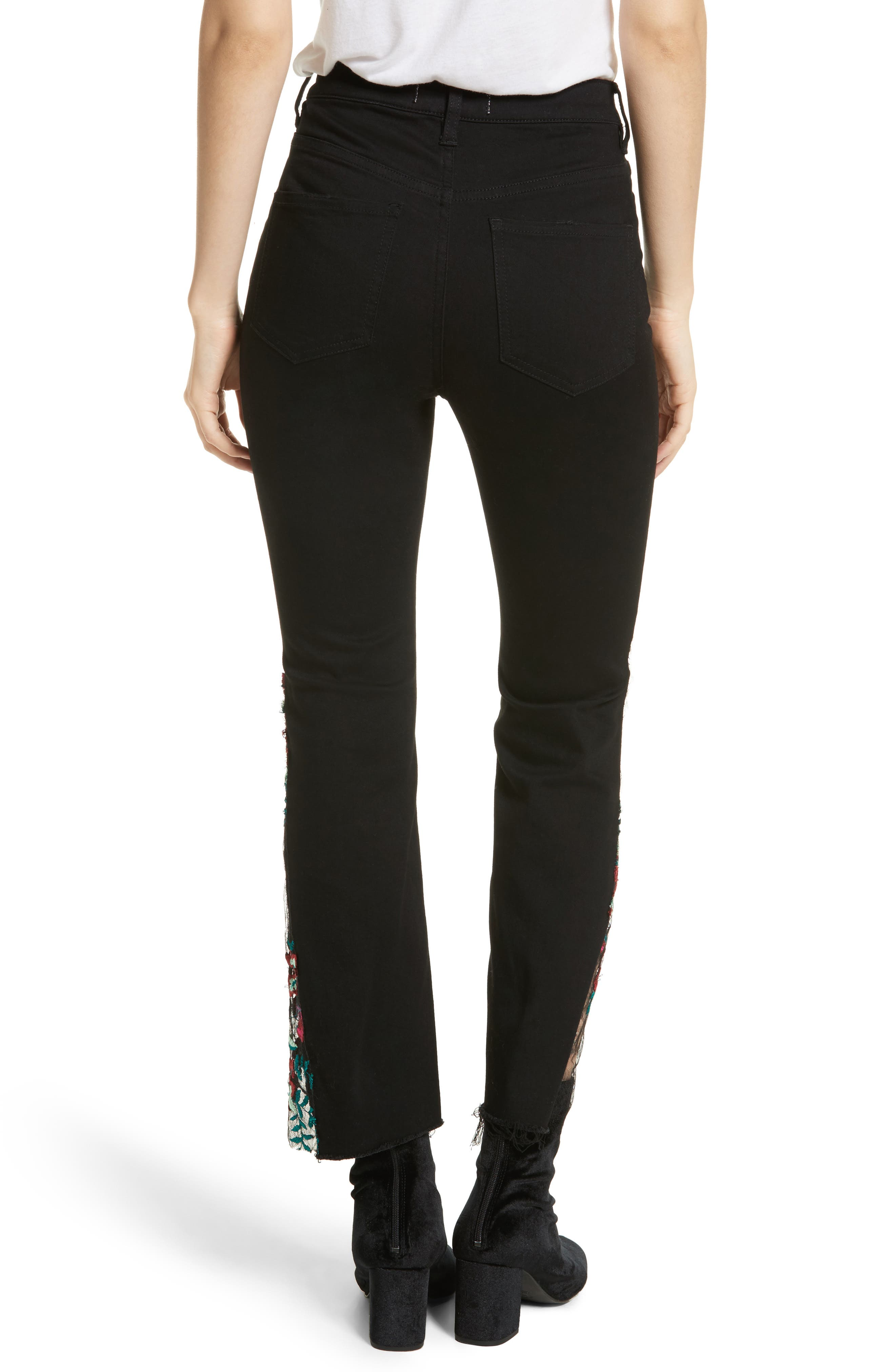 Embroidered Lace Flare Jeans,                             Alternate thumbnail 2, color,                             Black